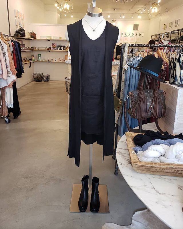 Our convertable top to dress worn as a dress with our long linen vest. Made from Italian linen. Hand finished detail. Clean lines. Stop by @brandedmv this weekend for our trunk show #blacklinen #tailoredpieces #smallproduction