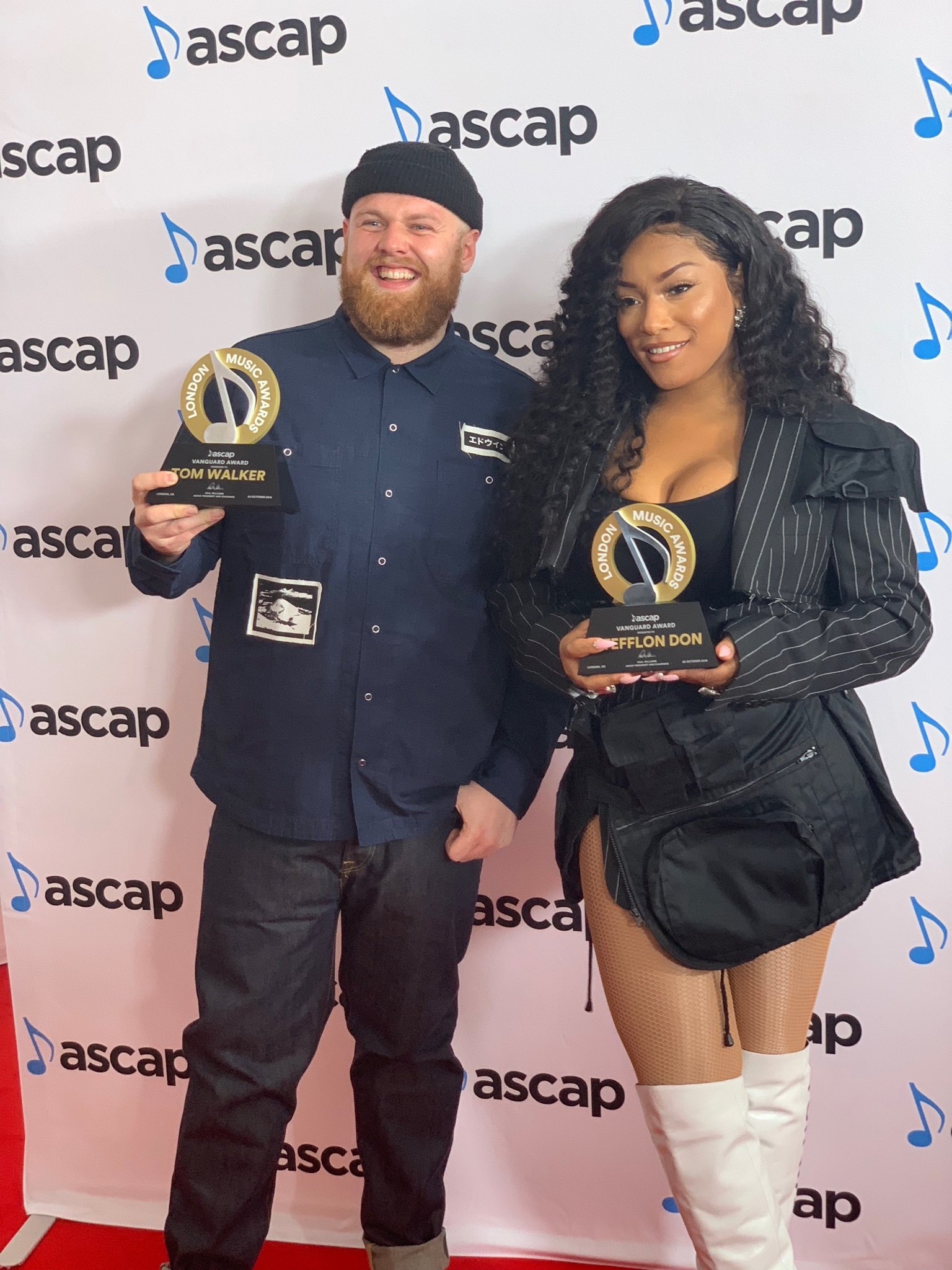 Tom Walker and Stefflon Don receiving the ASCAP Vanguard Award 2018.