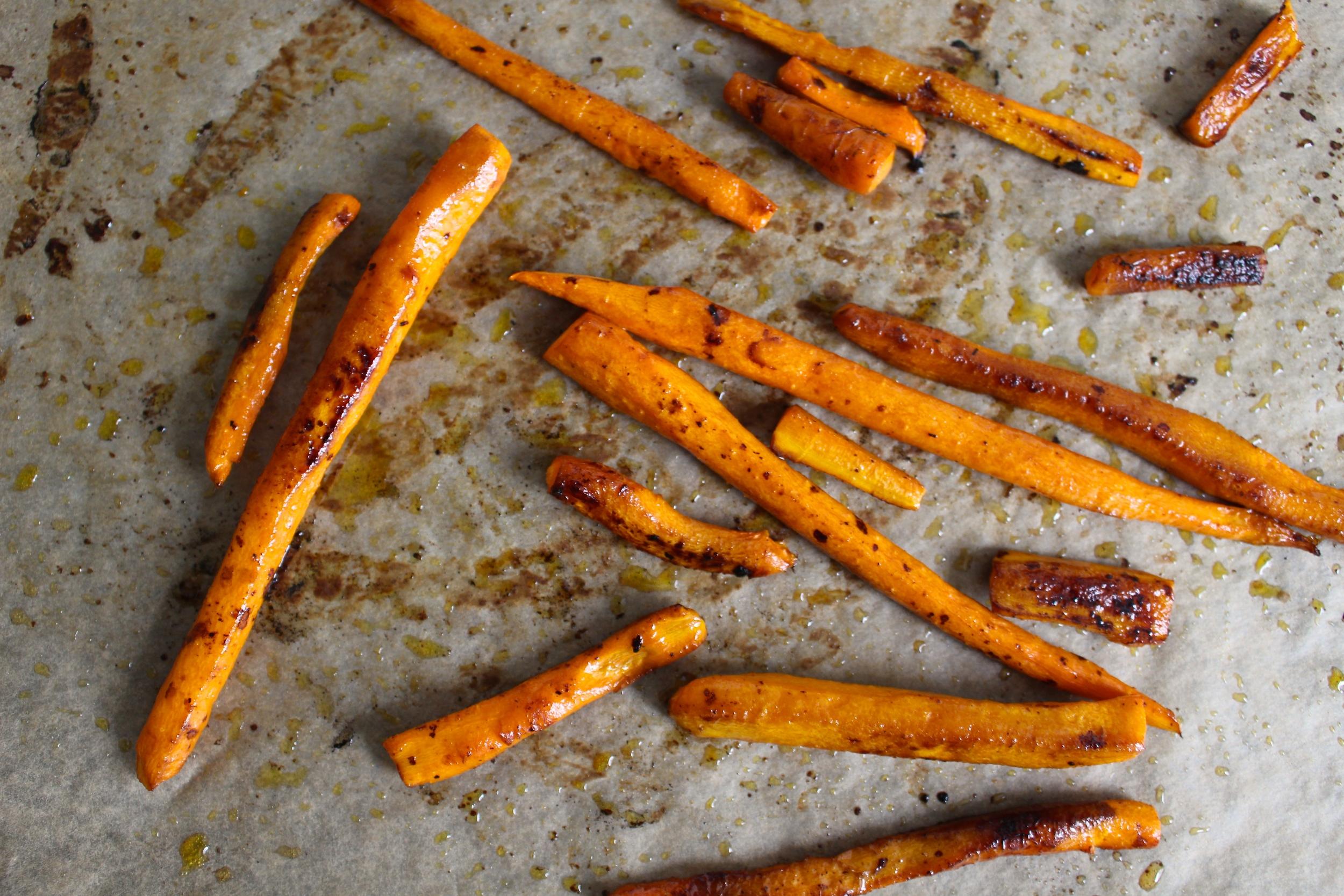 sesame + tamari roasted carrots elevate a simple roasted carrot side dish