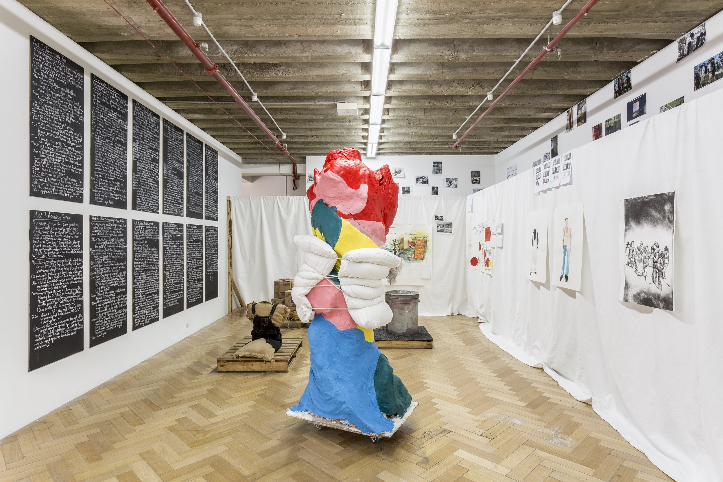 storyboard poetics and pedagogic process , 2017, installation view, mixed media, dimensions variable. Westspace Gallery. Image: Christo Crocker