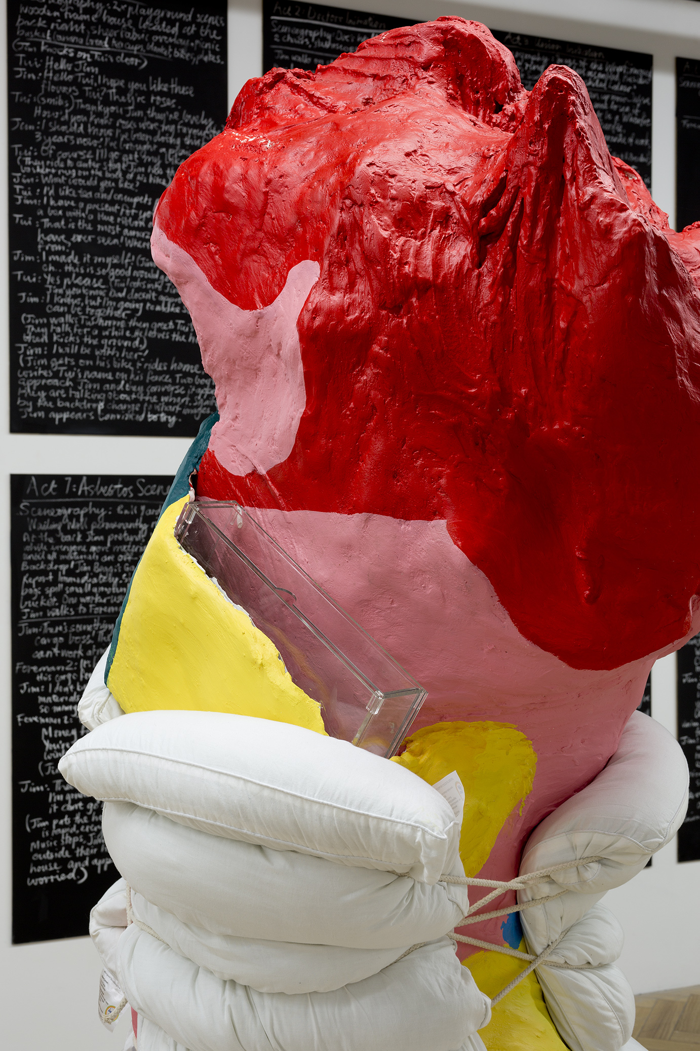 Education's blood with water viaduct and soft cell stitches , 2017, cardboard tubing, gauze from previous sculpture, backdrop material, plaster, house paint, clear Perspex single filing cabinet, curriculum documentation, rope, cardboard tubing, elastic, pillows, 2050 X 600 X 450mm.  Image: Christian Capurro