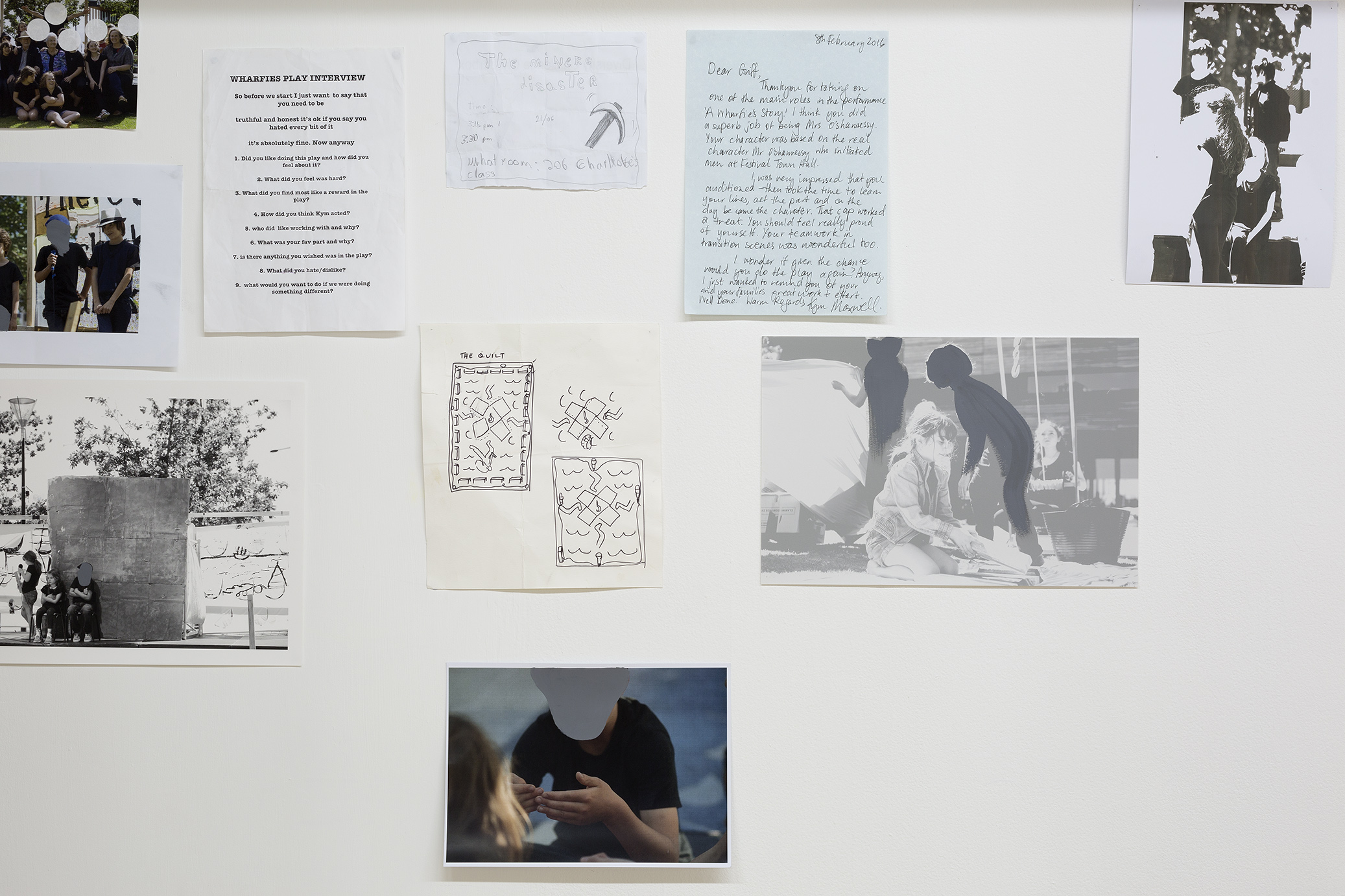 storyboard iteration 2017 , teaching and leaning ephemera from a 2015 performance arts curriculum, seven pine stud arches and frames, white corduroy, nails, screws, two wooden stools, archival images gifted from Jim and Tui Beggs, multiple imagery reproduced from photographs by Keelan O'Hehir, Christian Capurro and Kym Maxwell relate to the theatre production A Wharfie's Story performed by The Collingwood College Theatre Troupe (2015), as well aswatercolour drawings and lithograph prints, notebook digital reproductions, charcoal comments, bluetak, gold split pins, sticky tape All altered documentation, drawings, paintings, prints and sculptures by Kym Maxwell (2016-2017). Dimensions variable, ongoing installation instructions the fabric corduroy wall must be 730 mm distance from the gallery wall, partly concealed with its height one third lower than the gallery wall. Image: Christian Capurro