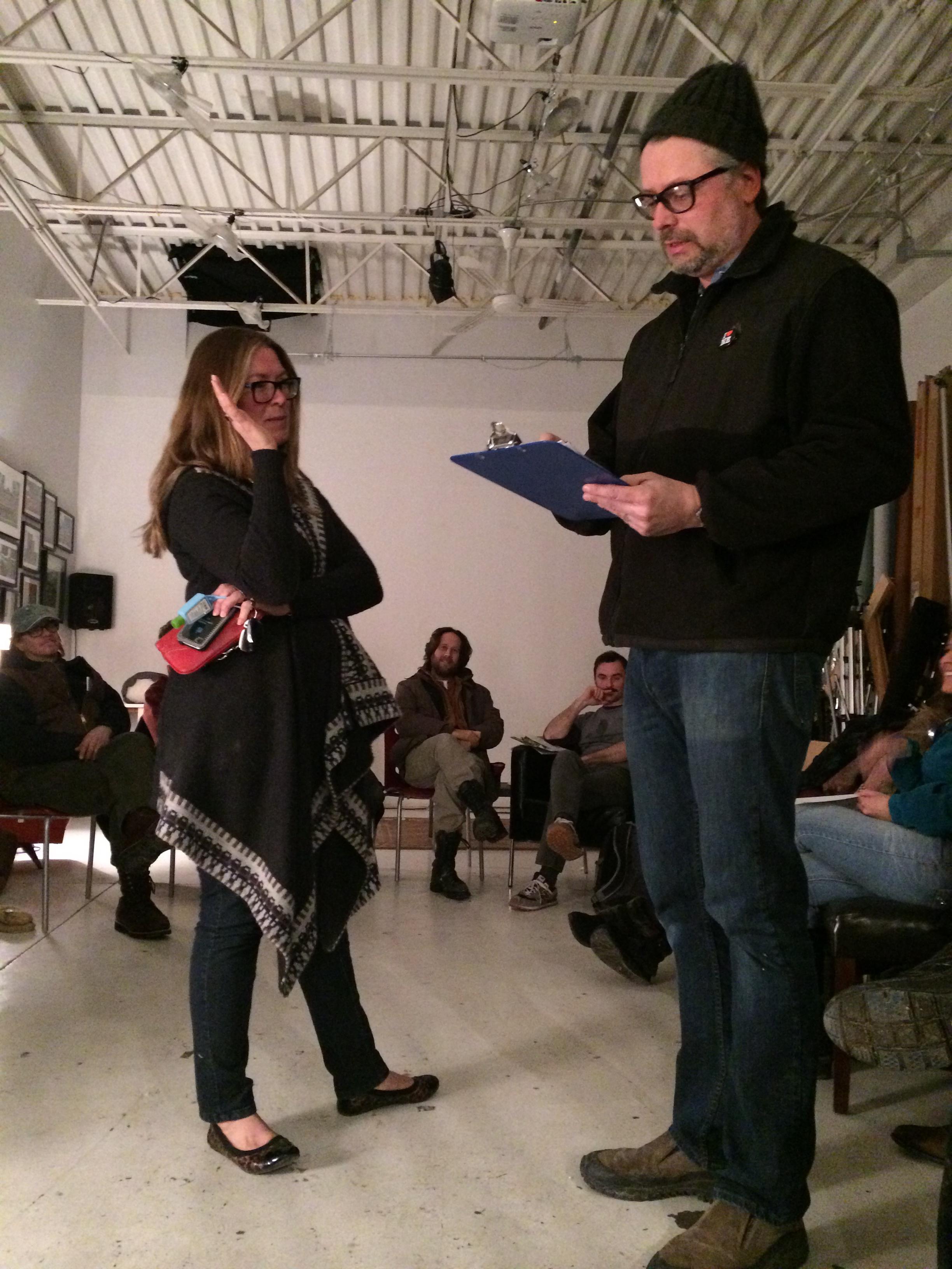 Brenda Torre reciting the IA pledge, photo by Deanna Johnson.