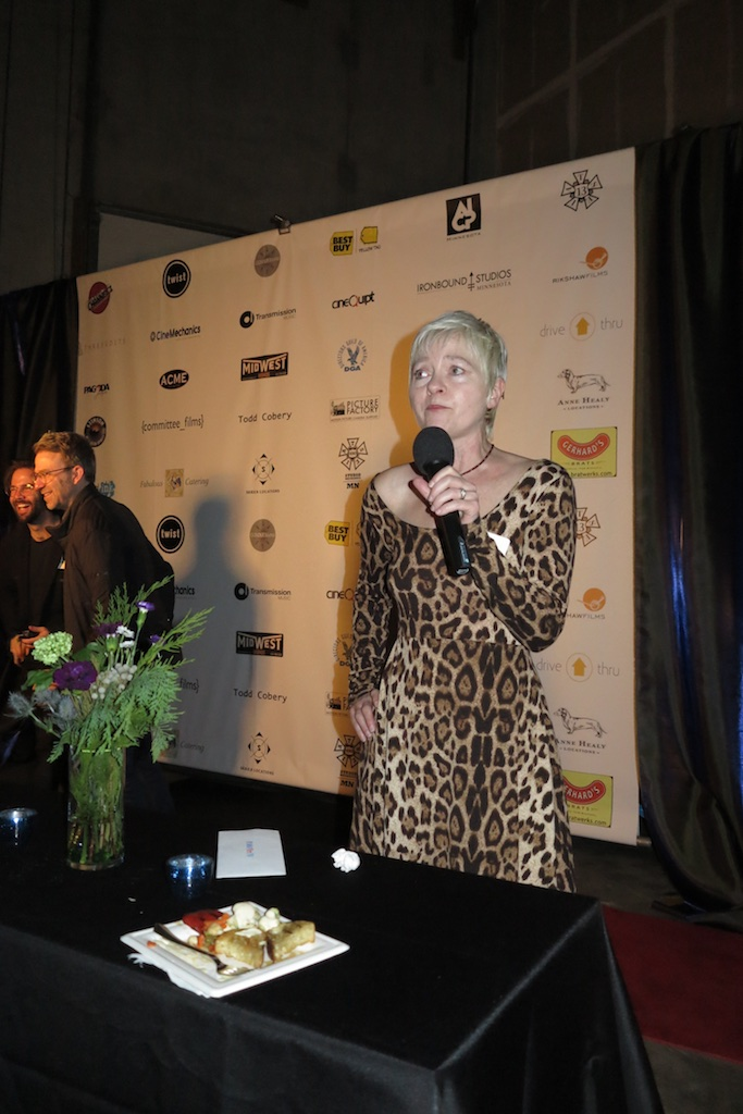 MN Film & TV  commissioner, Melodie Bahan addresses the crowd at the All Crew Party.