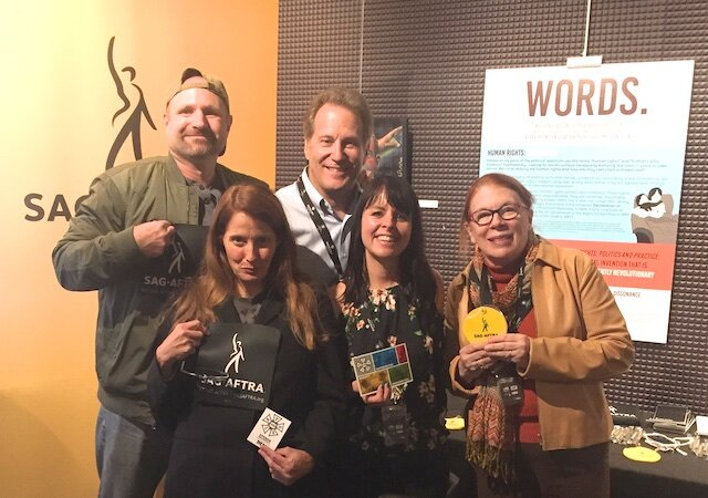 IATSE Scripty Molly Worre, center, with other Minnesotans and SAG members at the Catalyst Content Festival. (Photo provided by Molly Worre)