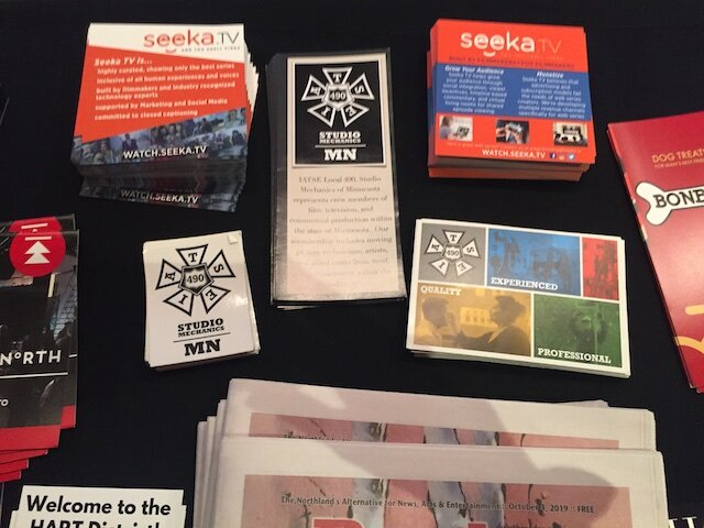 IATSE 490 Brochures, stickers and postcards were handed out to attendees.
