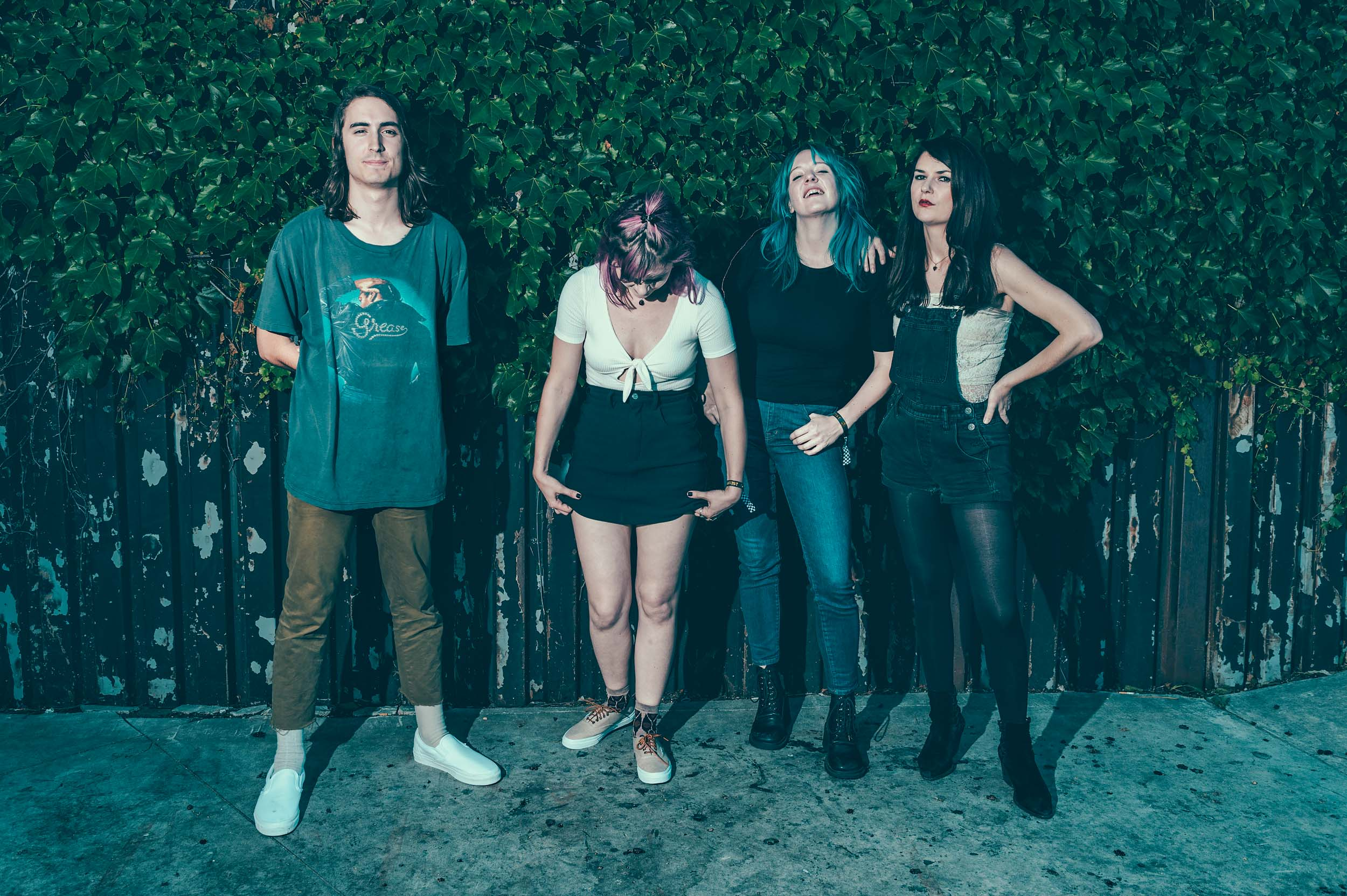 Bleached's Nick Pillot, Jennifer Clavin, Jessica Clavin, and Micayla Grace photographed by Chad Kamenshine