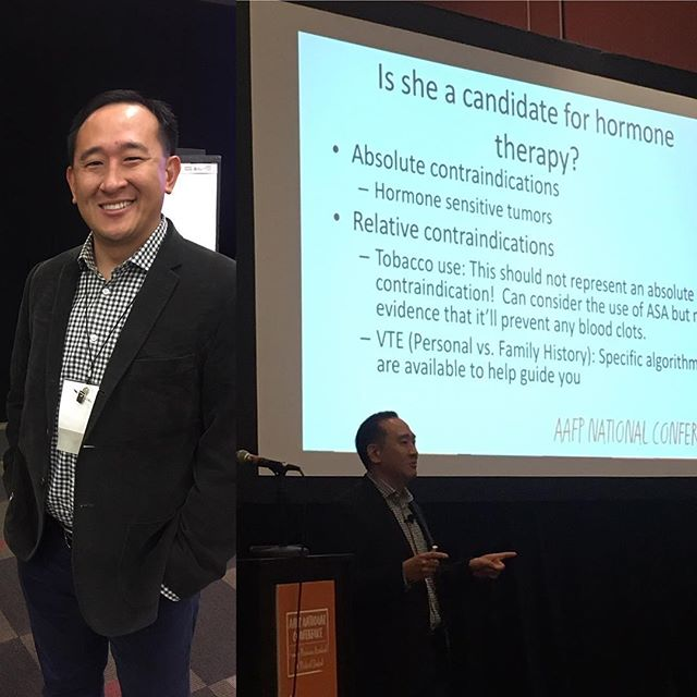 Faculty member Kevin Wang presenting at AAFPNC on Trans Care! #aafpnc #familymedicine