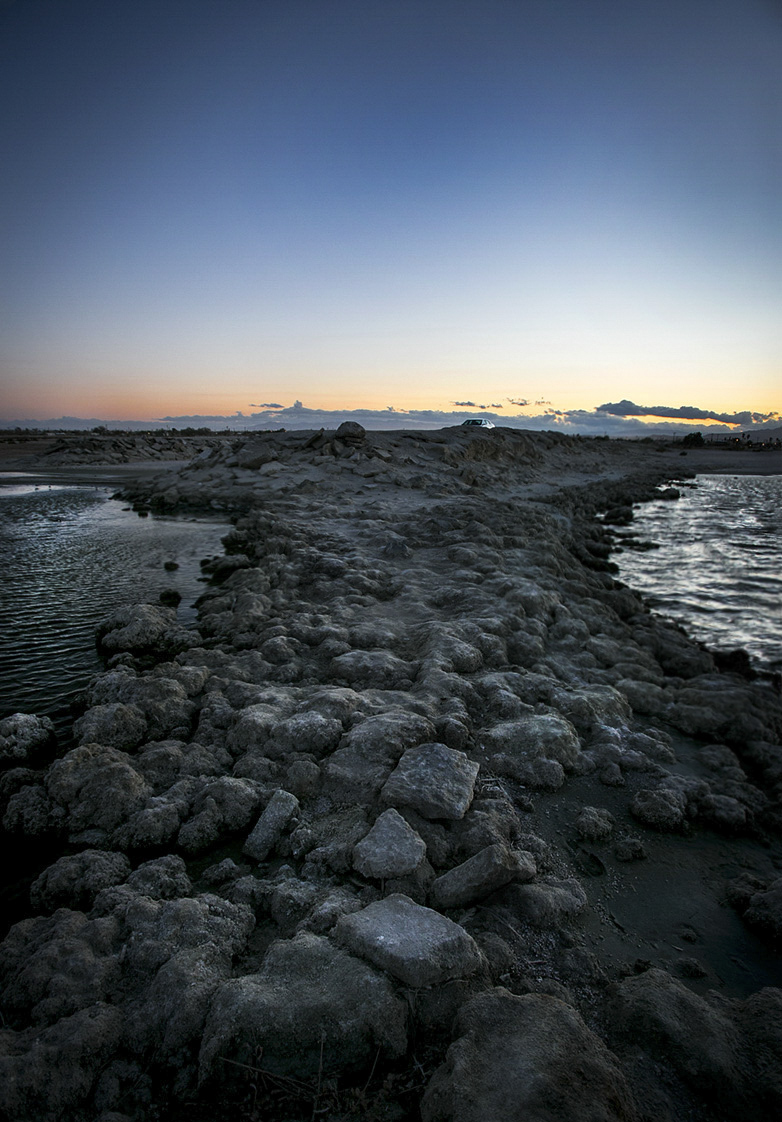 Looking back towards the shoreline of the Salton Sea. ©2014 John Halpern