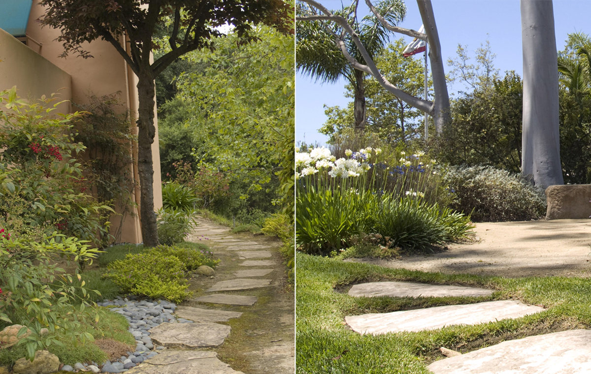 (Left) flagstone pathway, Las Positas Home Owners Association, and (right) decomposed granite stepping stones, demonstration garden, Goleta Valley Water District.