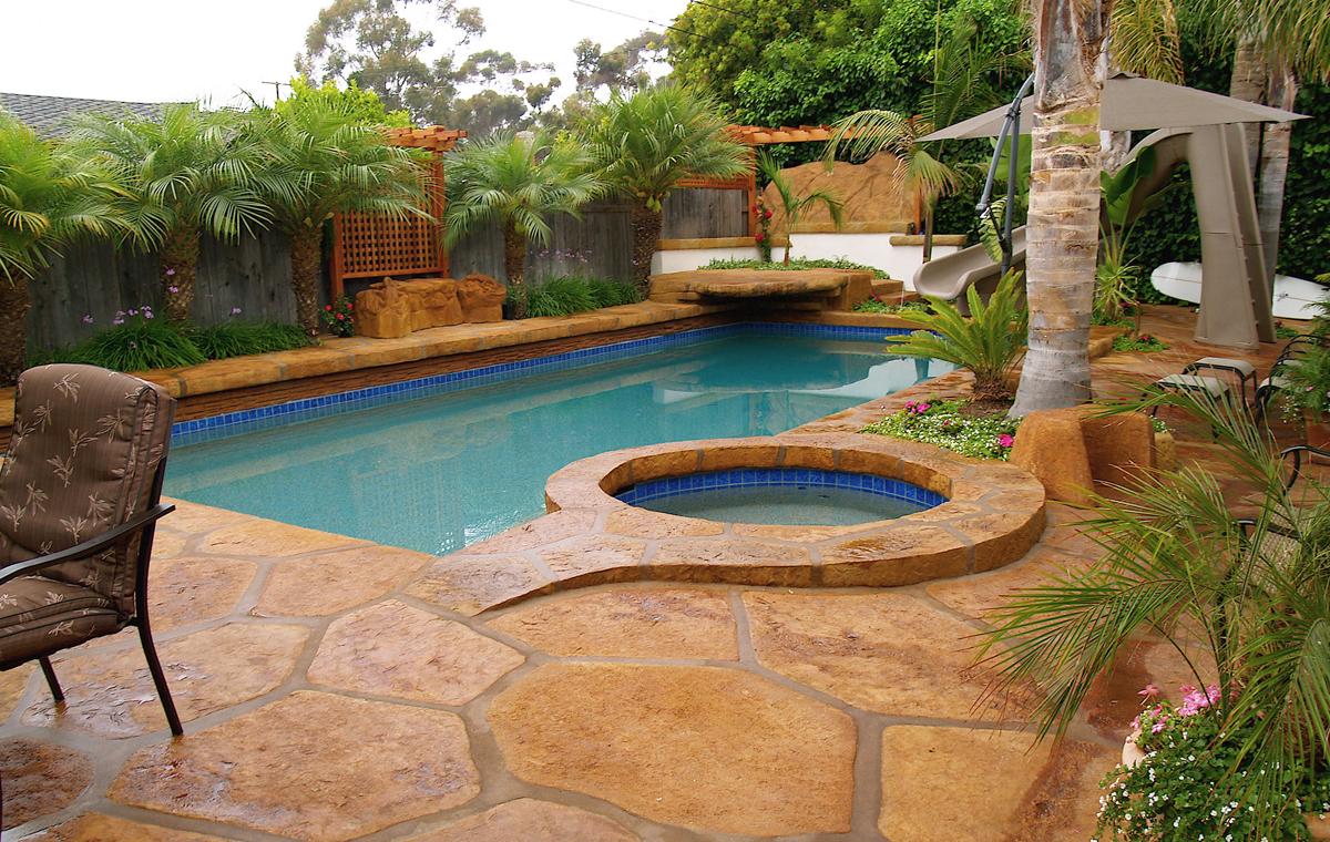 Custom concrete deck, private residence, Goleta.