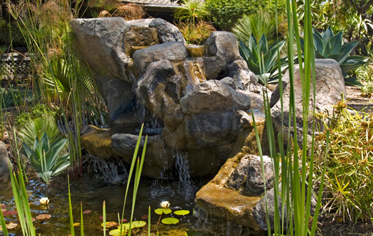 Water feature, demonstration garden, Goleta Valley Water District.