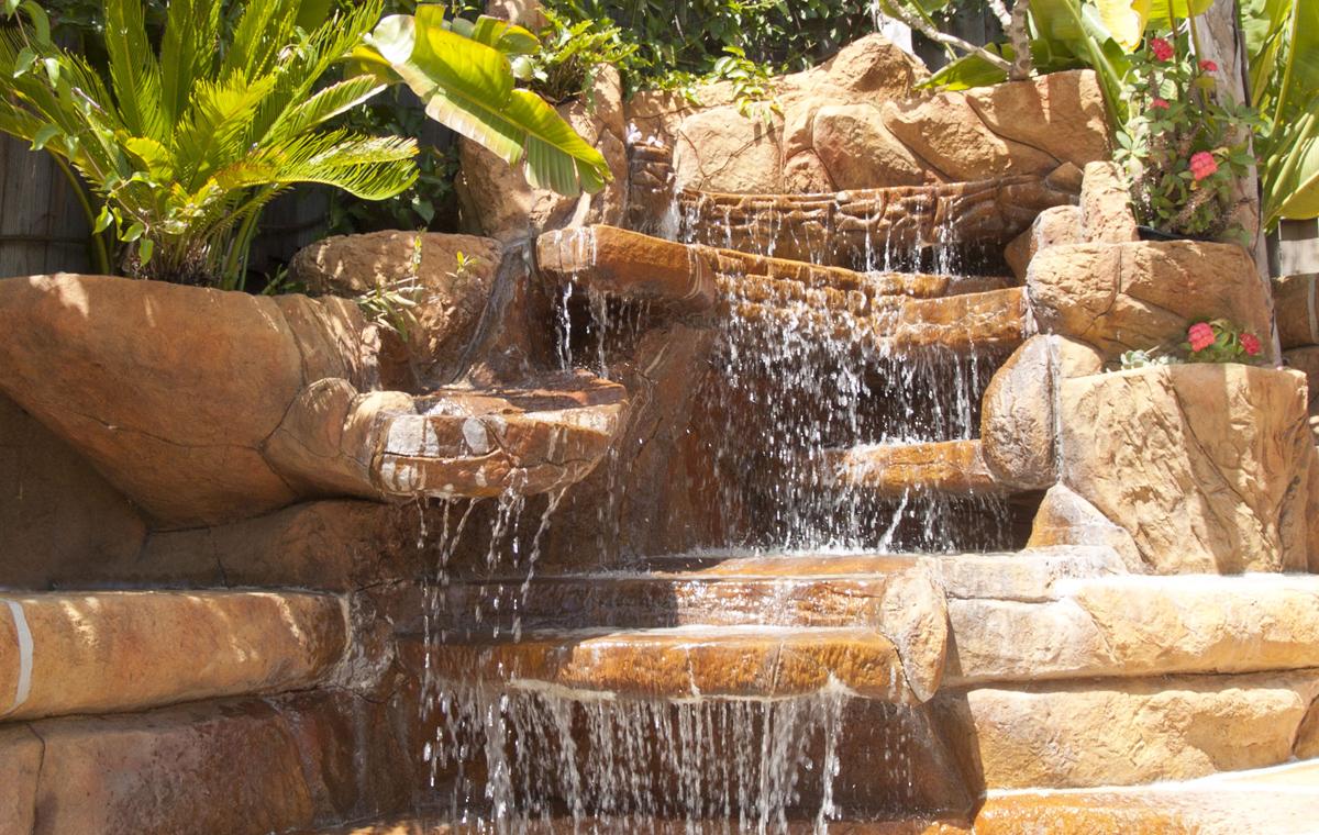 Backyard waterfall, private residence, Santa Barbara.