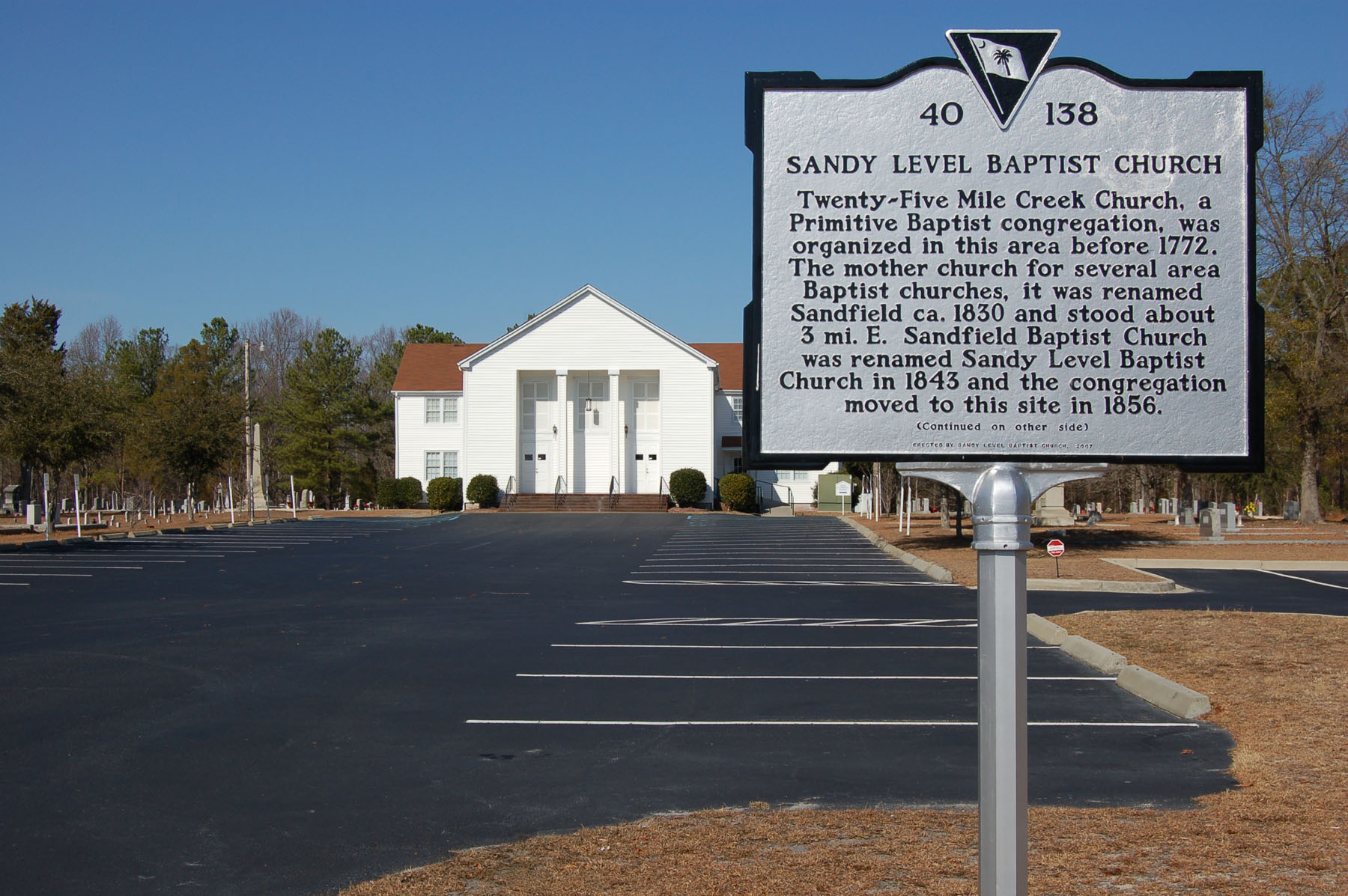 Sandy Level Baptist Church  built in 1856 and is a designated Richland County Landmark building.  Church roots date to around 1768.  Photo by Jim McLean.        .