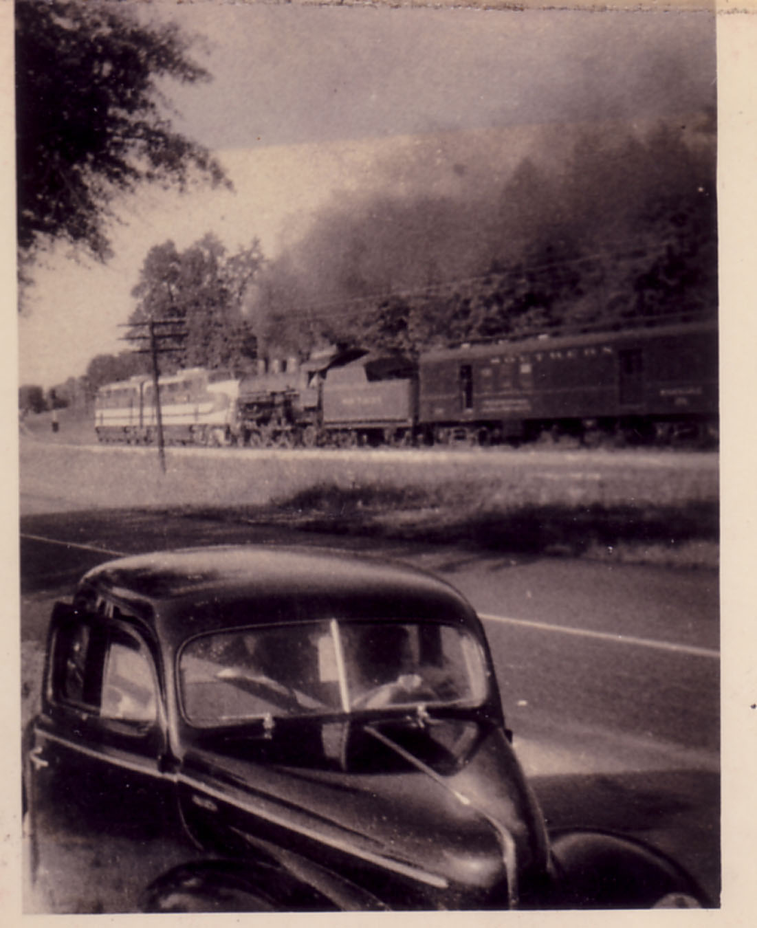 One of the last steam trains in service.  Photo taken late 1940's by Hudnalle McLean Sr.