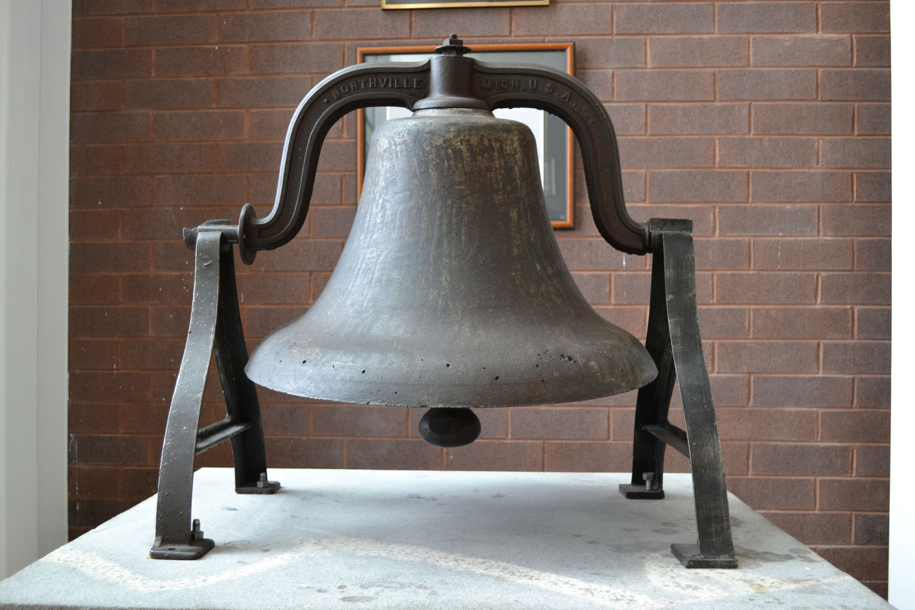 School bell for the original Blythewood School now on display in lobby of new Blythewood High School.