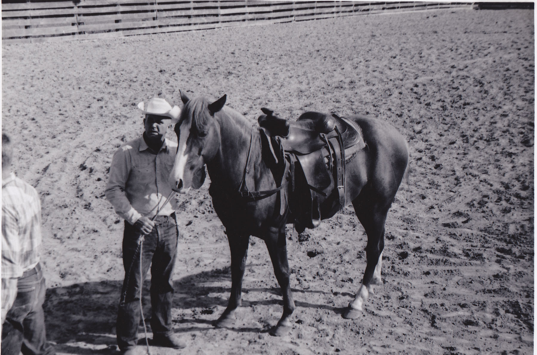 "Jim Jennings and his prize horse ""Stinker"".  Photo by Hud McLean Sr."