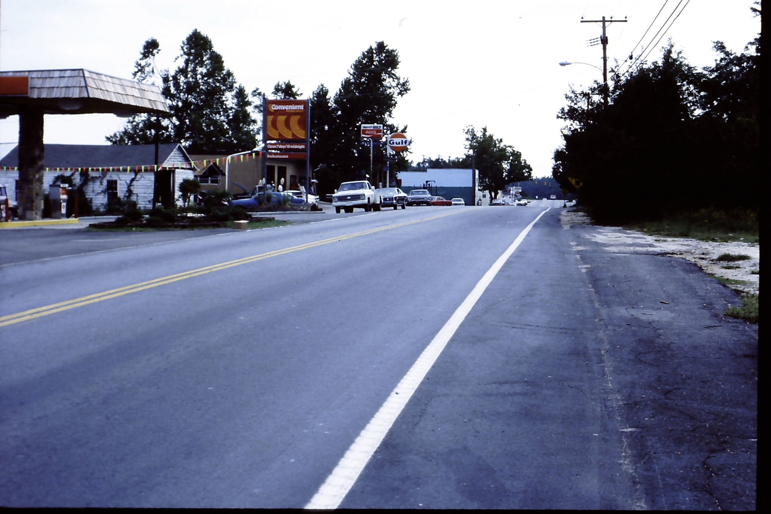 View of Main Street looking South.  Photo taken by Hudnalle McLean about 1970.