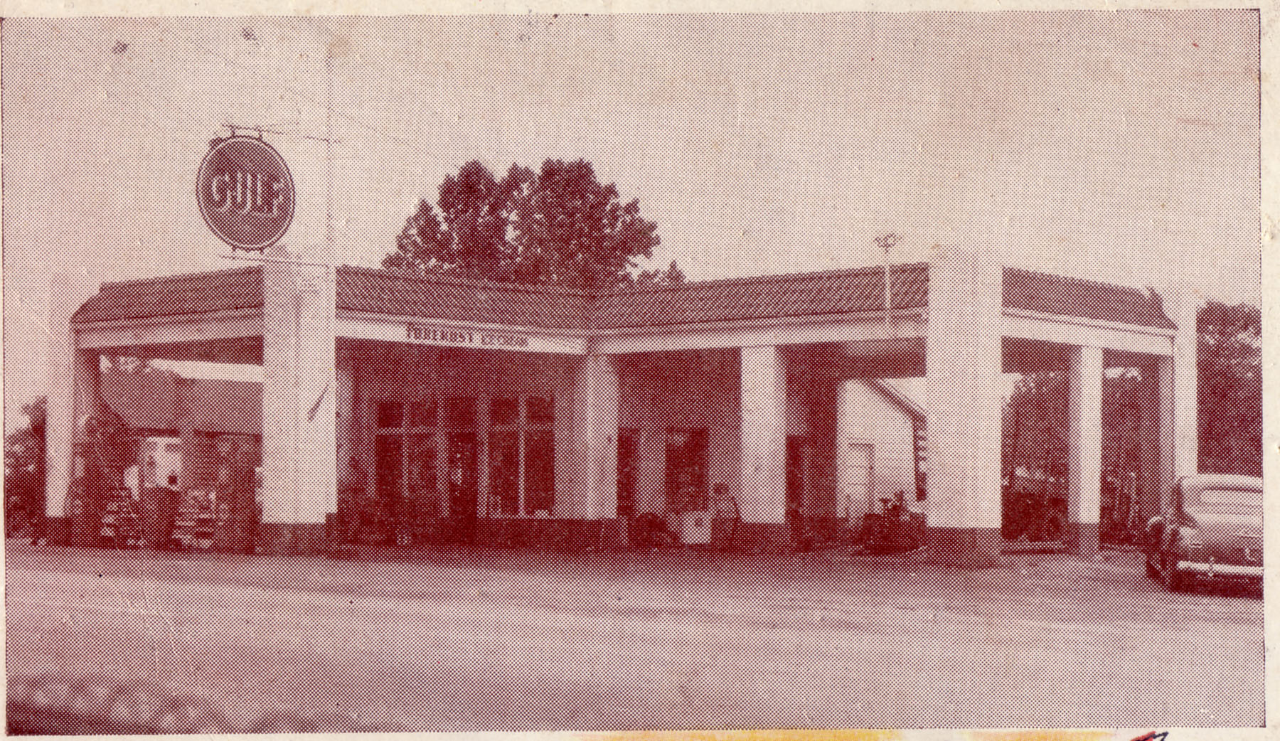 JR Creech Gulf Station.  Burned in the late 1960's.  Located at the present site of Sharpe's BP on Main St.