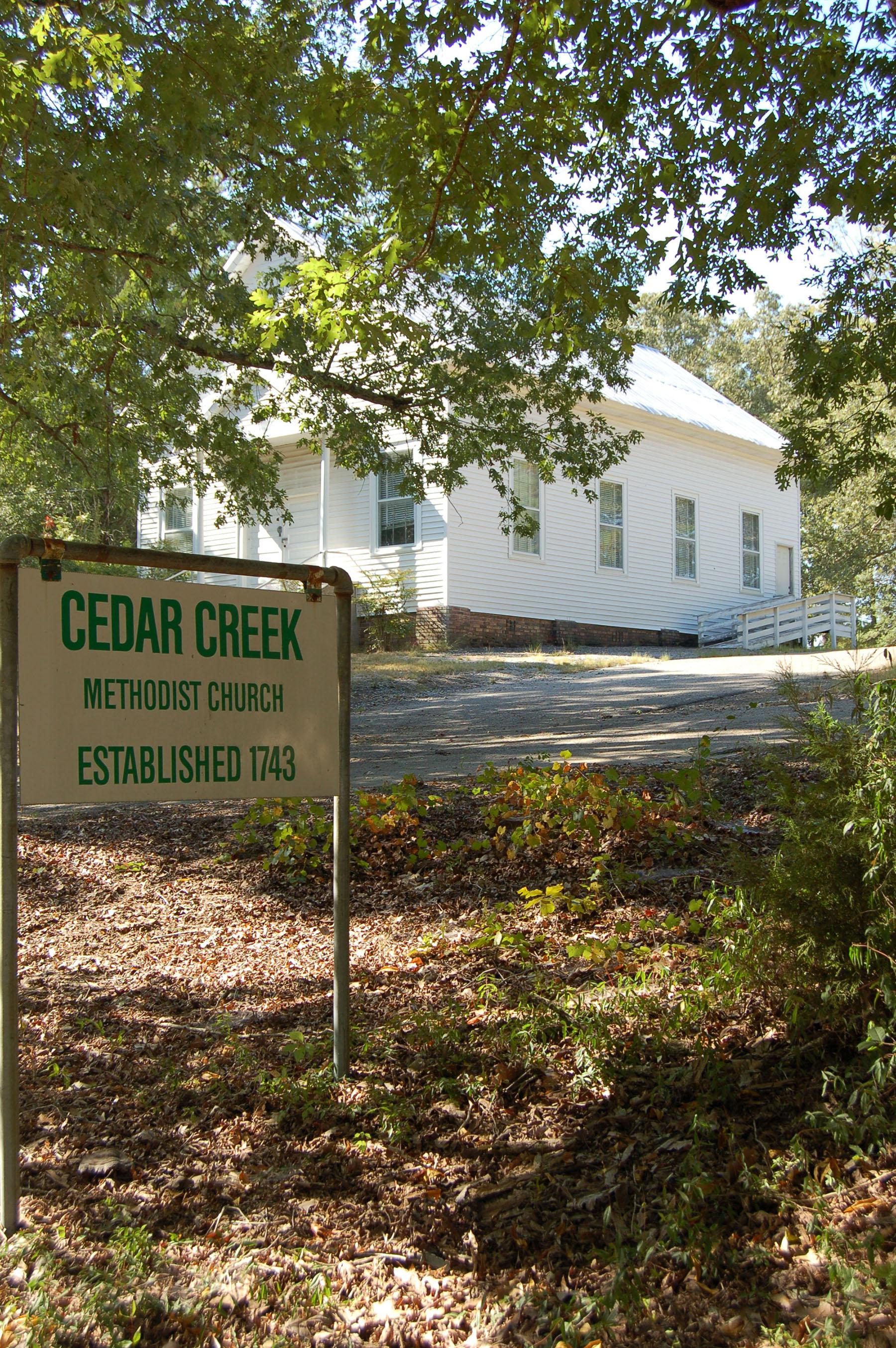 Cedar Creek Methodist Church.  Photo by Jim McLean.