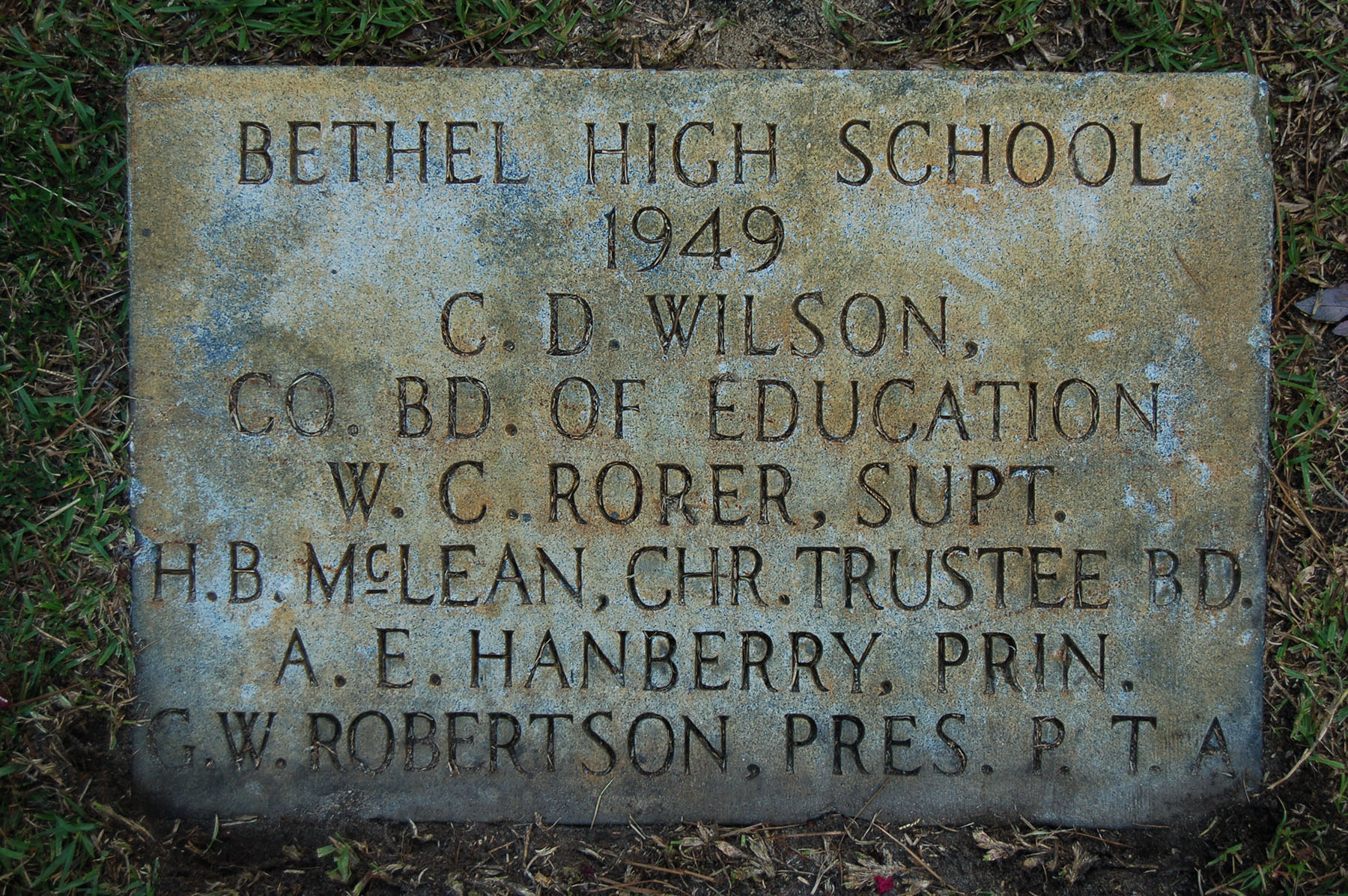 Bethel High School Marker 1949.  Photo by Jim McLean