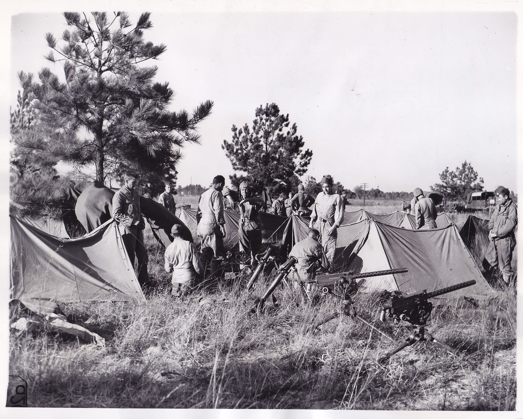 Troops of the 41st  Infantry from Fort Benning, GA at their bivouac area in Blythewood on Nov. 9, 1941.