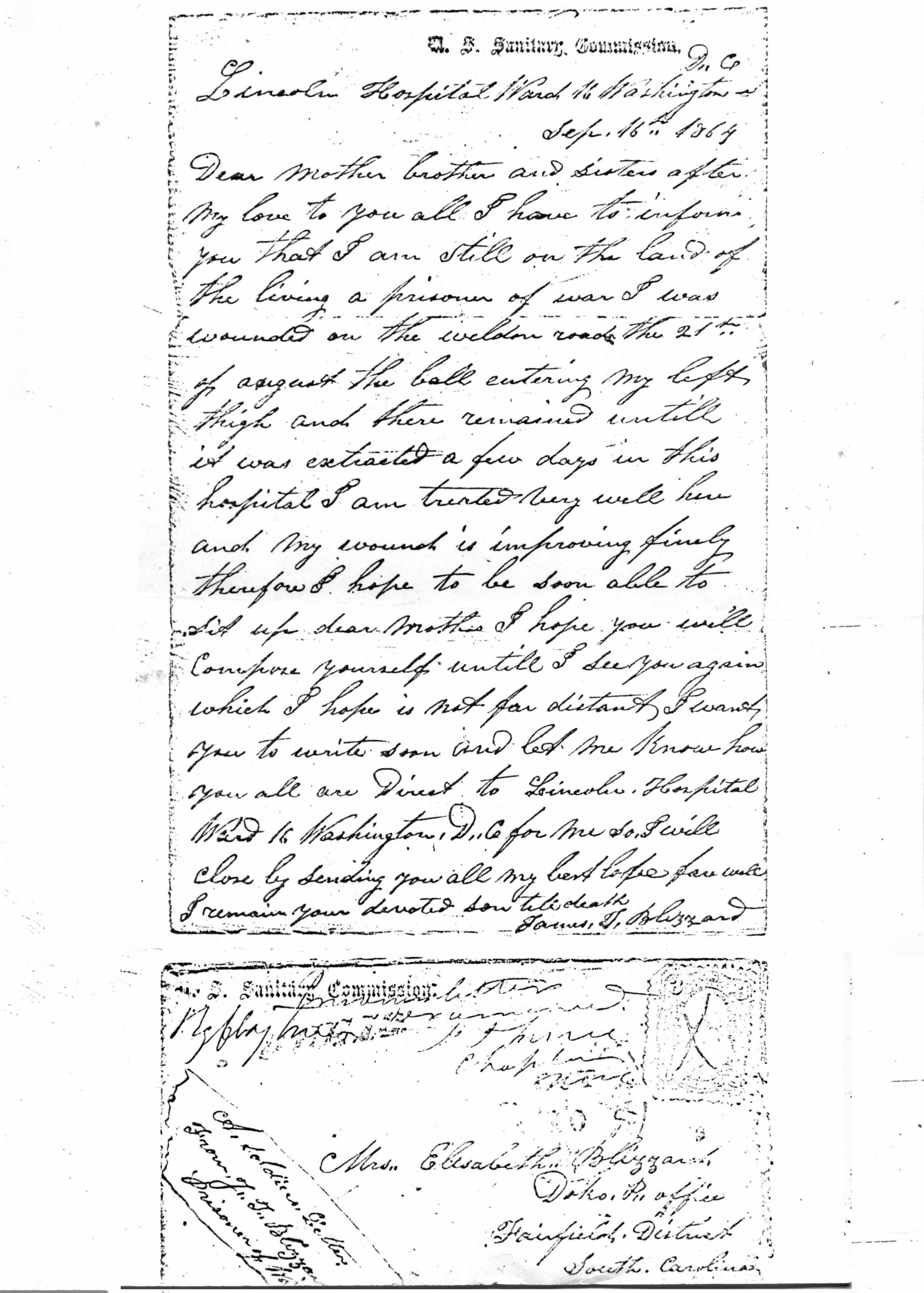 Letter from James Blizzard to his mother. He was a POW during Civil War and a member of Sandy Level Baptist Church.