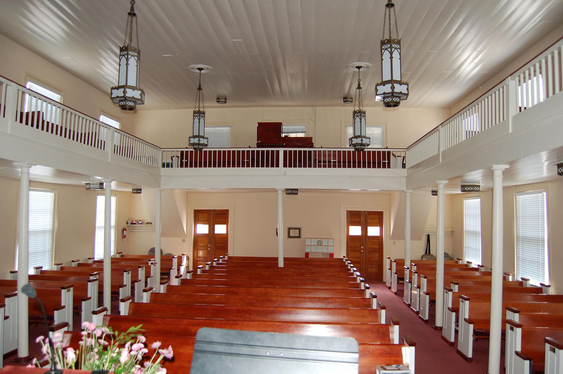 Interior of Sandy Level Baptist Church showing slave balconies.