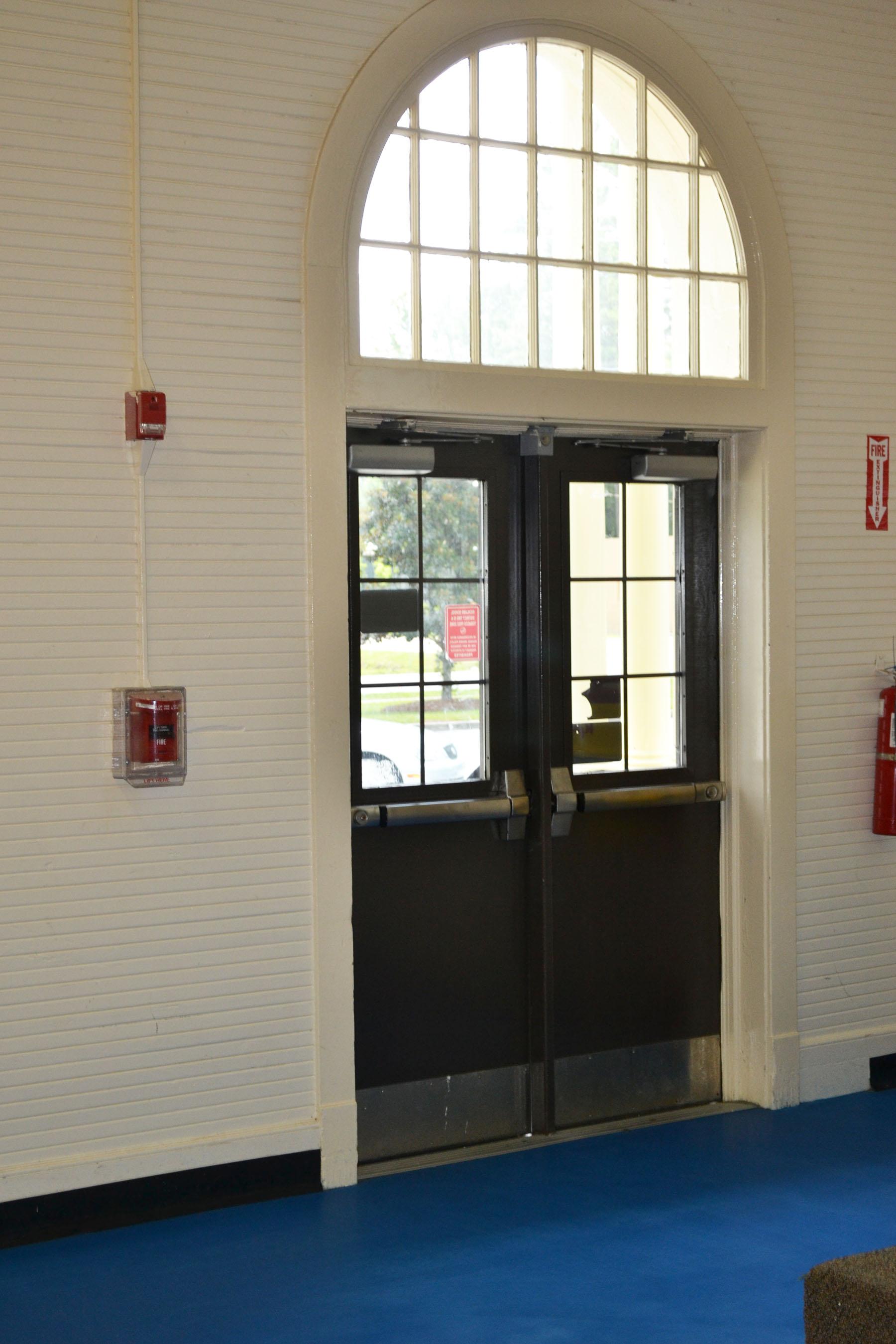 Blythewood School Gym Front Door.  Photo Taken by Jim McLean August 2014.