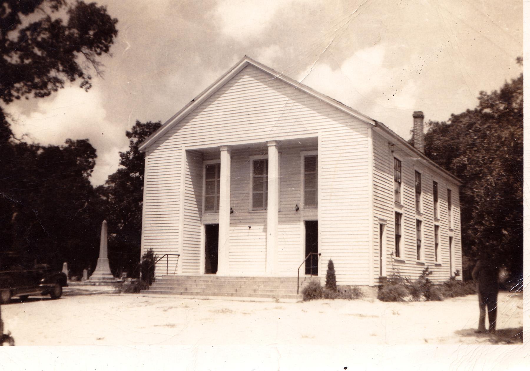 Sandy Level Baptist Church about 1950.  Photo by Hudnalle McLean Sr.