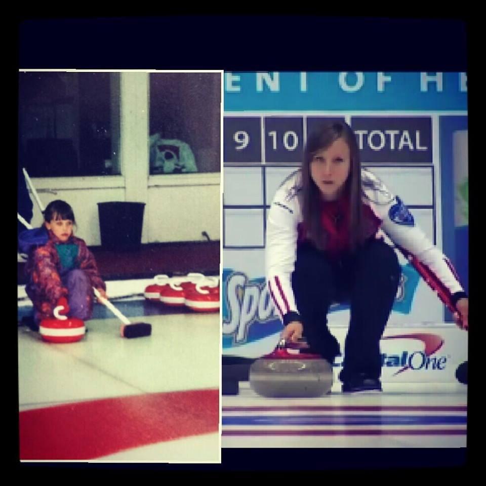 Rachel Homan at the Rideau Curling Club in Ottawa (left). Homan (right) skipping at the 2013 Scotties.