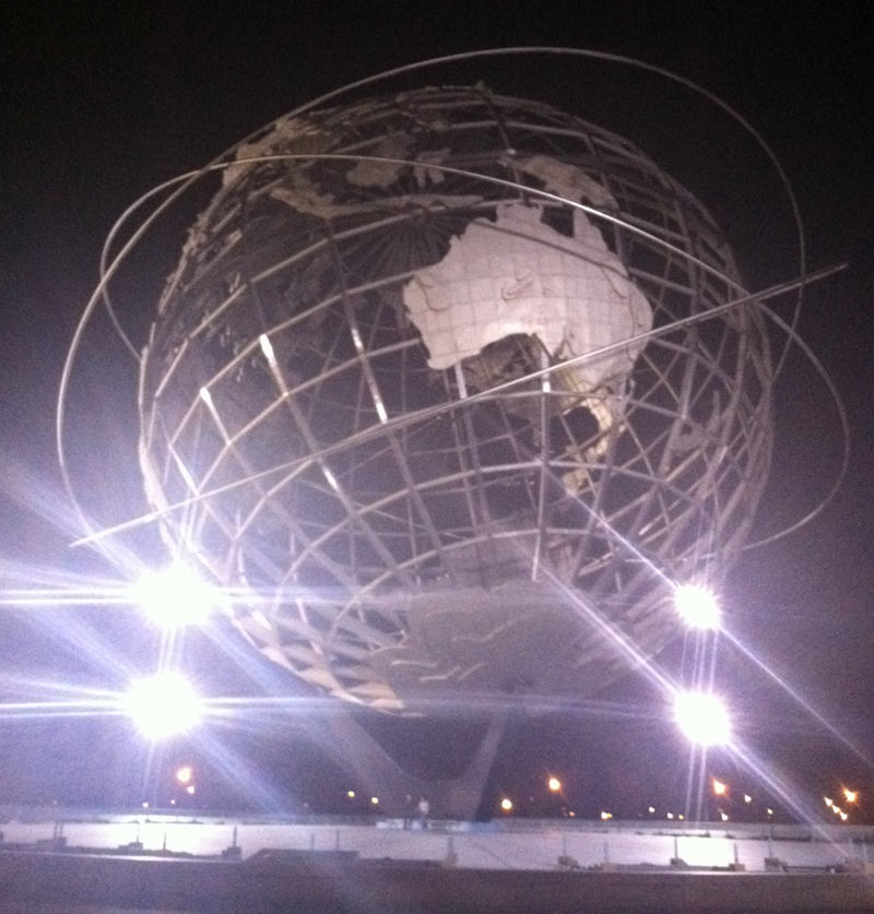 Flushing Meadows' Unisphere, the centerpiece of the 1964 World's Fair, at night. (Photo: Rich Bunnell)