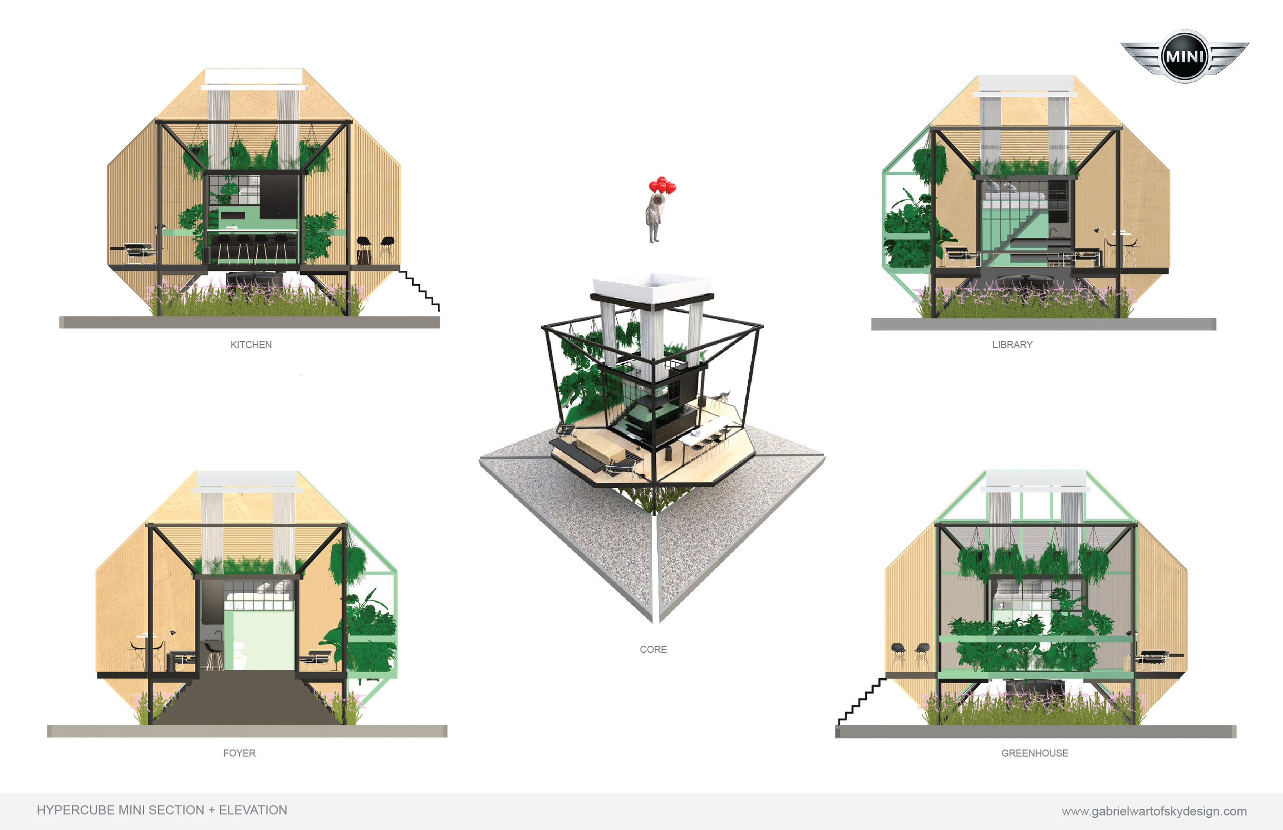 The key element behind the Hypercube design is its central CORE- a 100 sq ft prefab module that integrates kitchen, bathroom and bedroom along with water filtration and energy capture/storage.  The Kitchen provides a space to cook, store goods and socialize. Its vast windows invite the outside scenery in.  The Greenhouse provides a visible connection between natural systems and living space. It grows crops/plants, filters grey water and air, and provides a psychological tone of balance and serenity.  The Library provides storage, social space and beautiful views.  The Bathroom provides a private space to tend to body, as well a solar battery pack for energy storage.  The Bedroom sits atop the Core, with curtains providing selective privacy while a large skylight view provides an intimate view of the heaven's above.