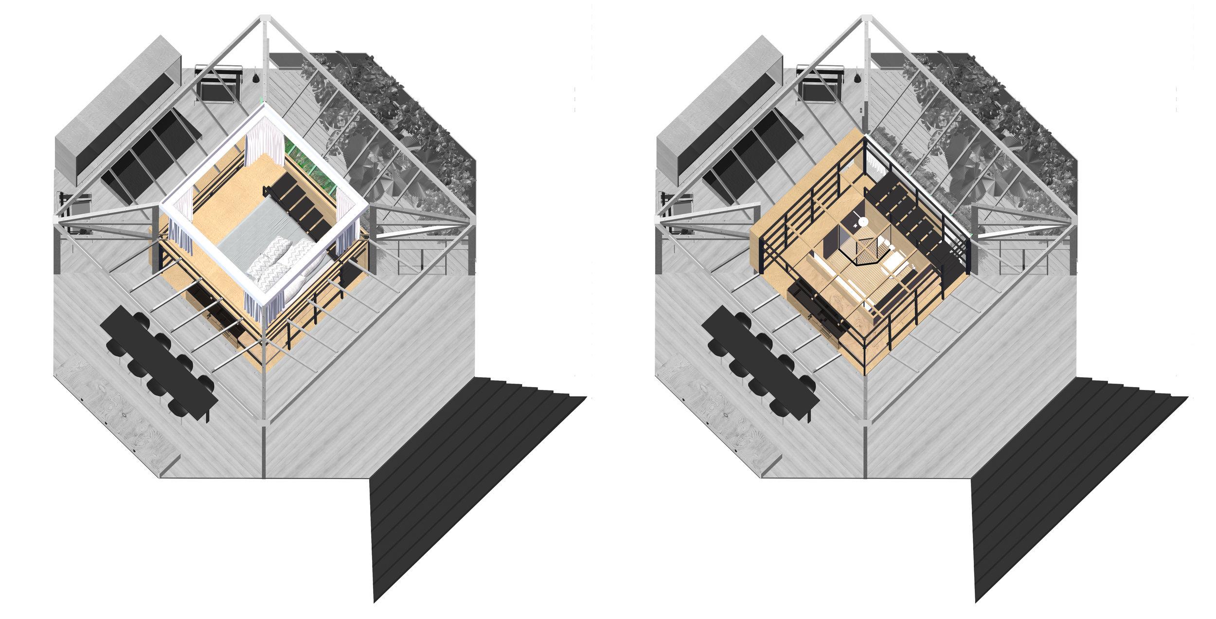 Second floor bedroom sits atop a ground floor bathroom