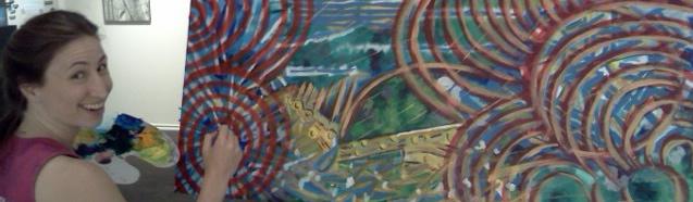 "Artist, Eliza Furmansky, painting ""Merrily"". Abstract improvised acrylic art."