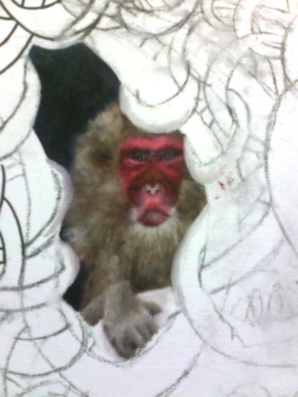 CLOSE UP OF THE SNOW MONKEY IN THE PAINTING, ZAZA FEARLESS RIDES INTO THE UNIVERSE, BY ELIZA FURMANSKY