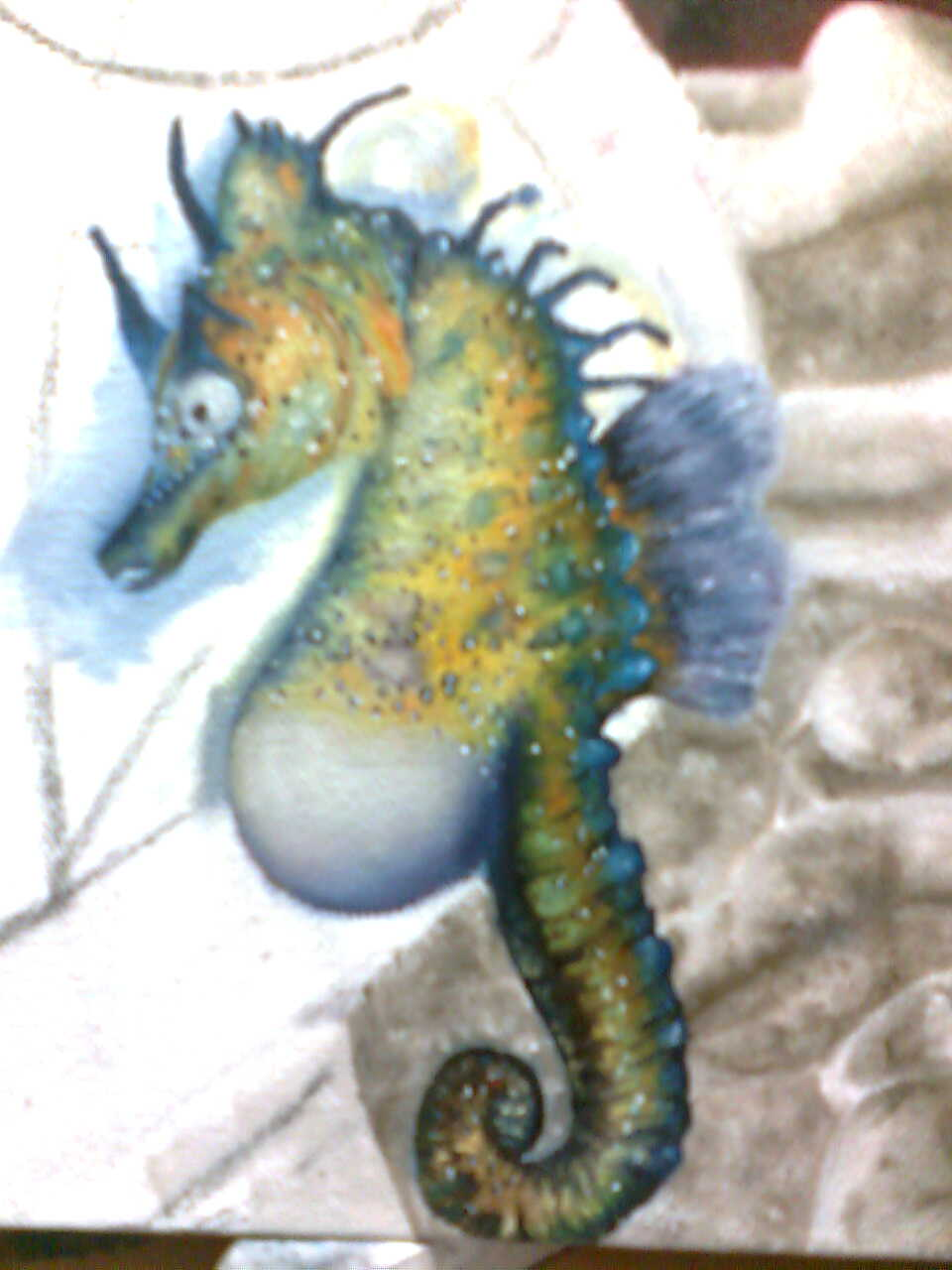 Seahorse from ZAZA FEARLESS RIDES INTO THE UNIVERSE, an oil painting by Eliza Furmansky