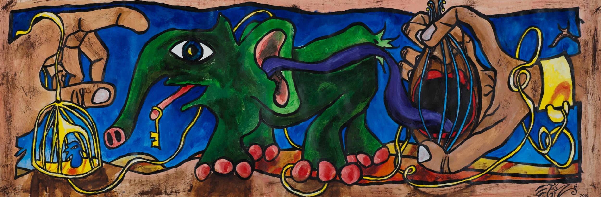 "Freedom song by Eliza Furmansky  Acrylic on paper. 8"" x 24"". 2010"