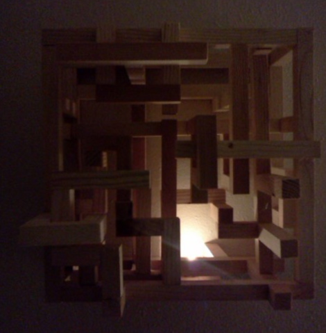 Light and Shadow Box #1 by Eliza Furmansky.  Made from ripped down pine boards broken by Quantum Martial Artists. 2013