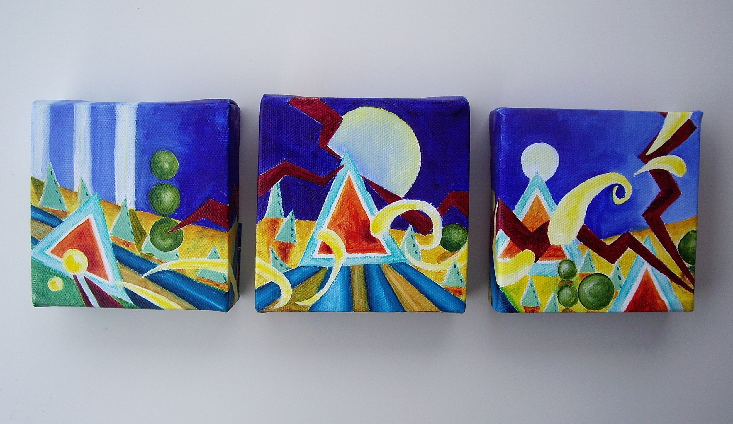 "Oil on canvas. Each painting is 4"" x 4"" x 1""  2013   Purchase here."