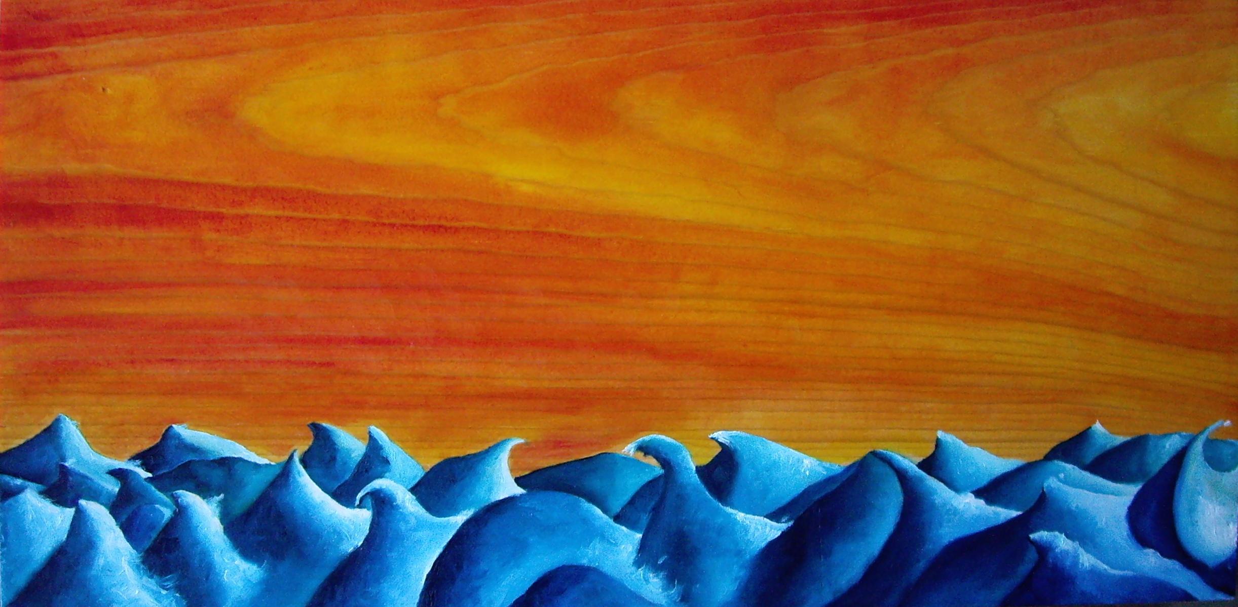 """Waves on Wood. Oil on pine. 15"""" x 7 1/2"""". 2013"""