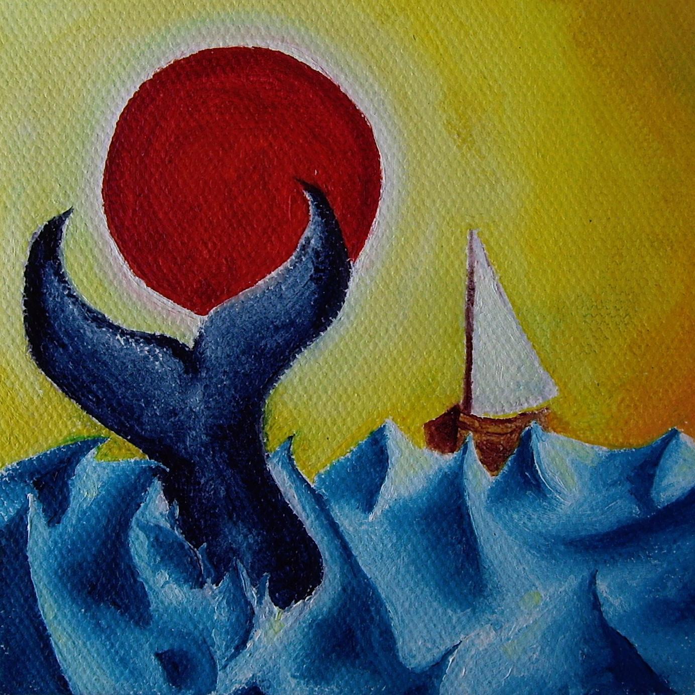 "A Friend at Sea. Oil on canvas. 4"" x 4"" x 1"". 2013"