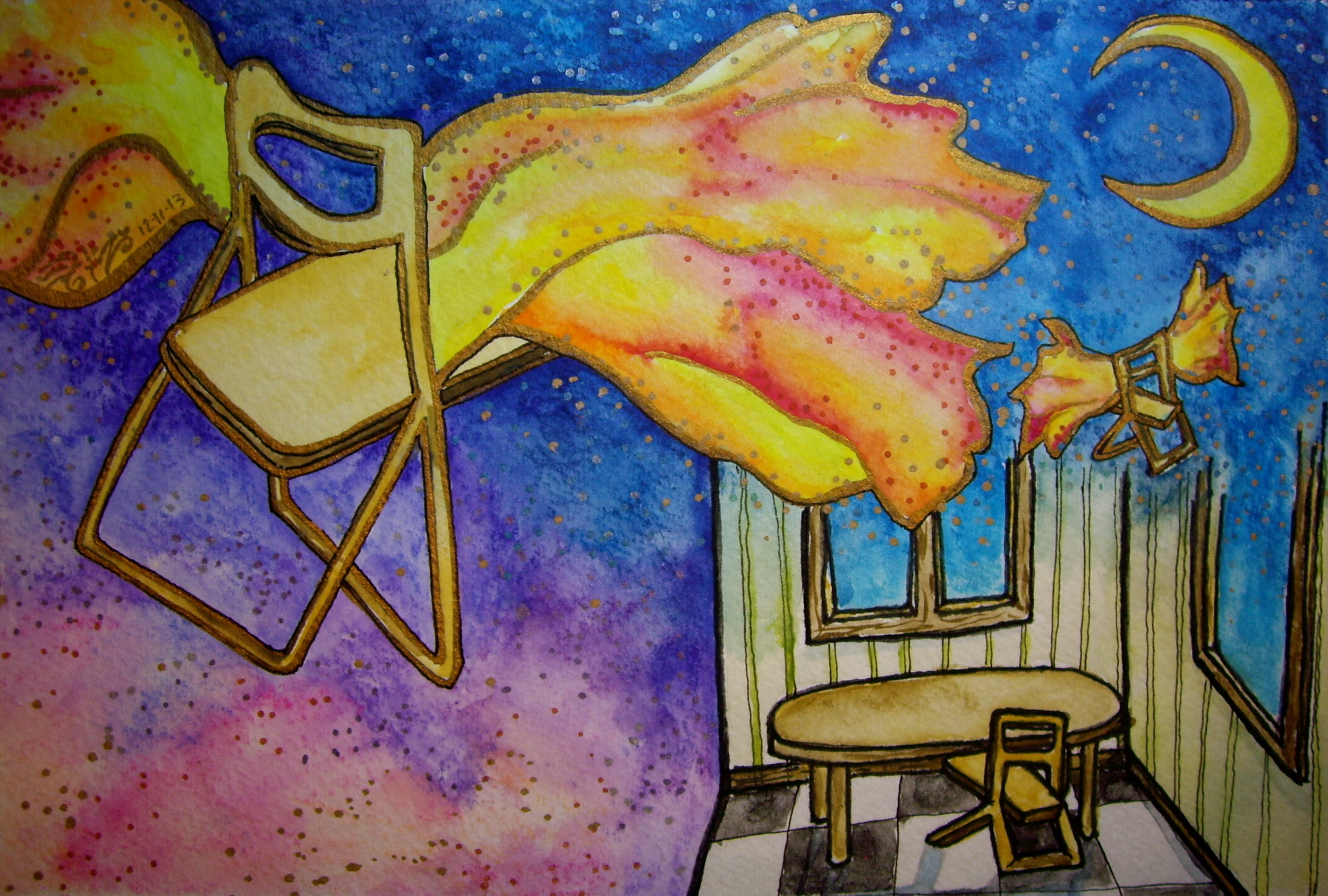 """Watercolor and permanent ink on paper. 7 1/2"""" x 5"""". 12/11/2013.  Win it here.   Purchase a print here."""