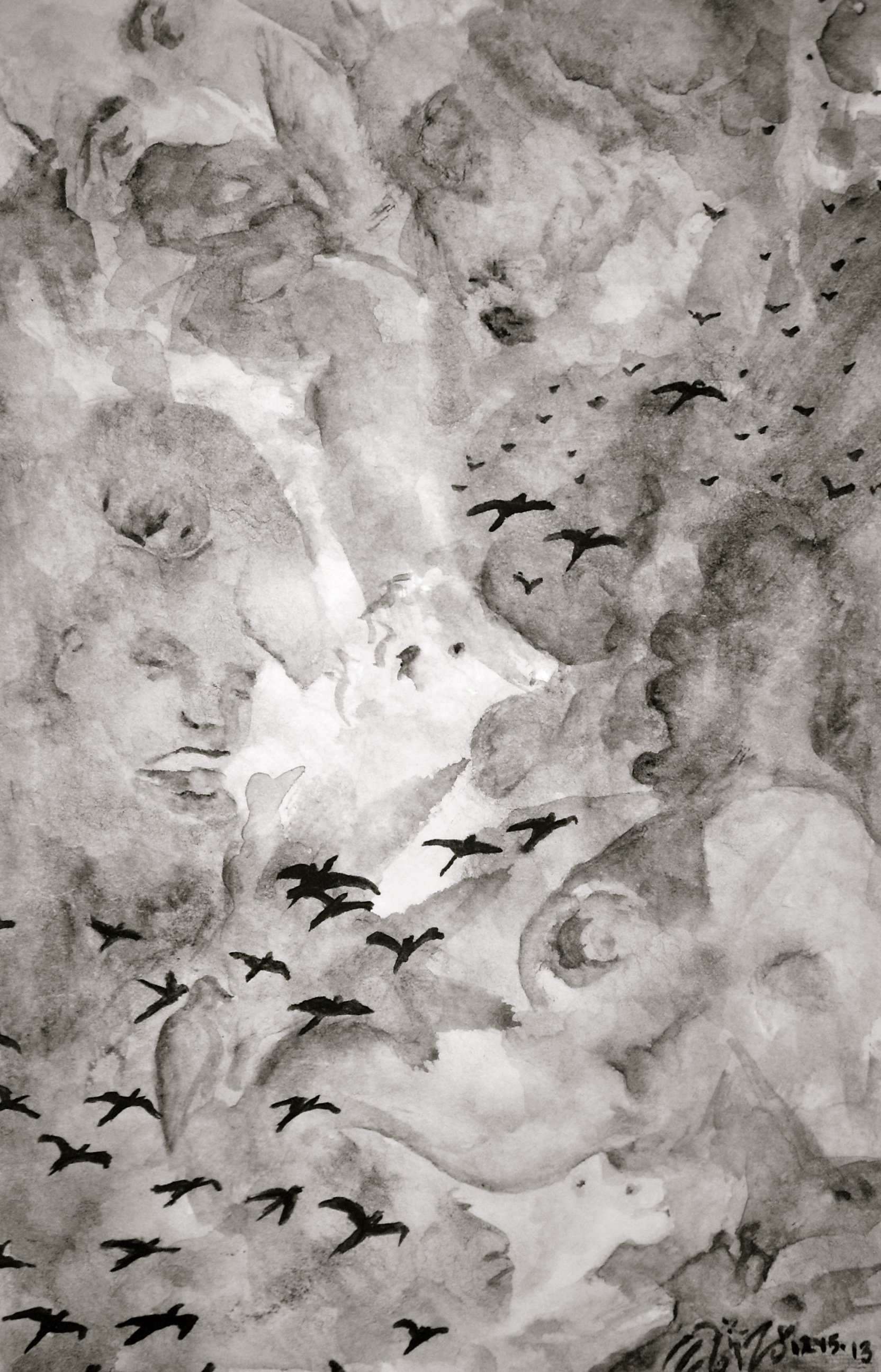 """Watercolor on paper. 4 1/2"""" x 7"""". 12/15/2013.  Win it here.   Purchase a print here."""