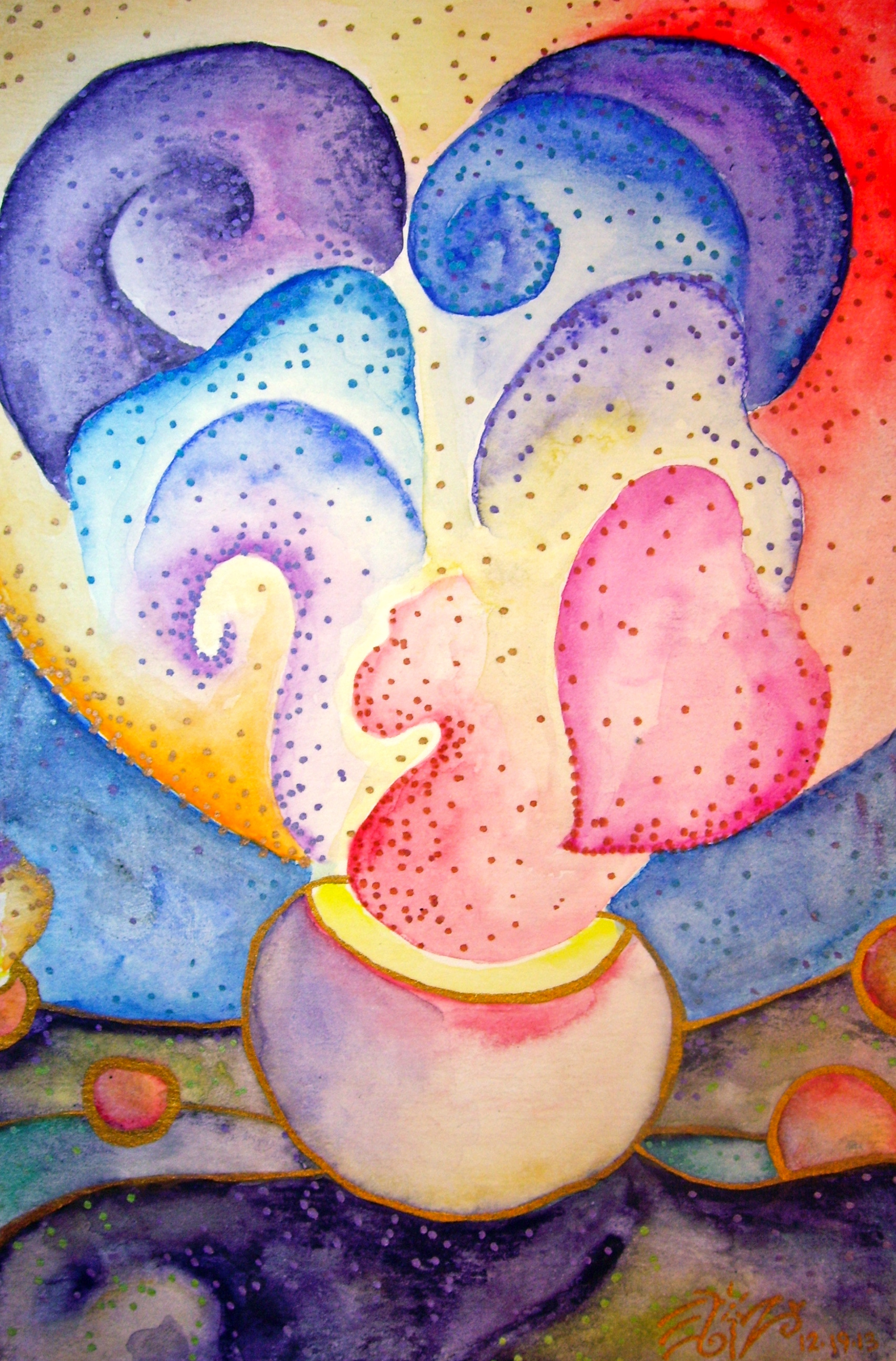 "Watercolor and permanent ink on paper. 5"" x 7 1/2"". 12/19/13.  Win it here.   Buy a print here."
