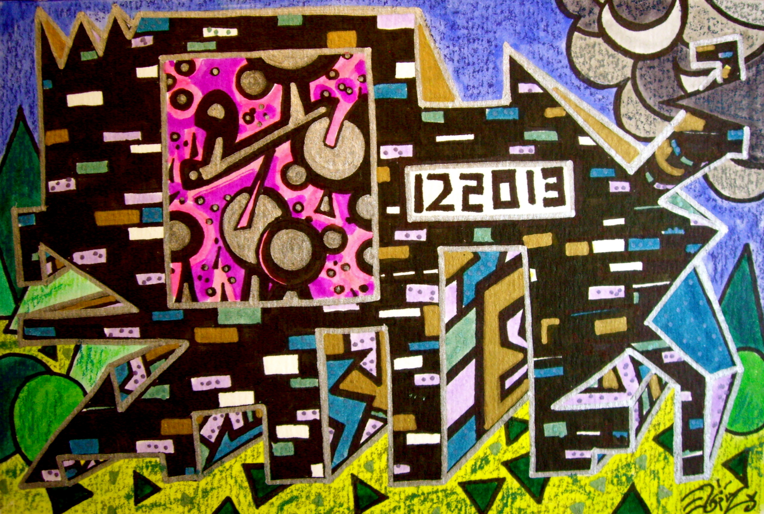 """Ink on paper. 5"""" x 7 1/2"""". 12/20/13."""