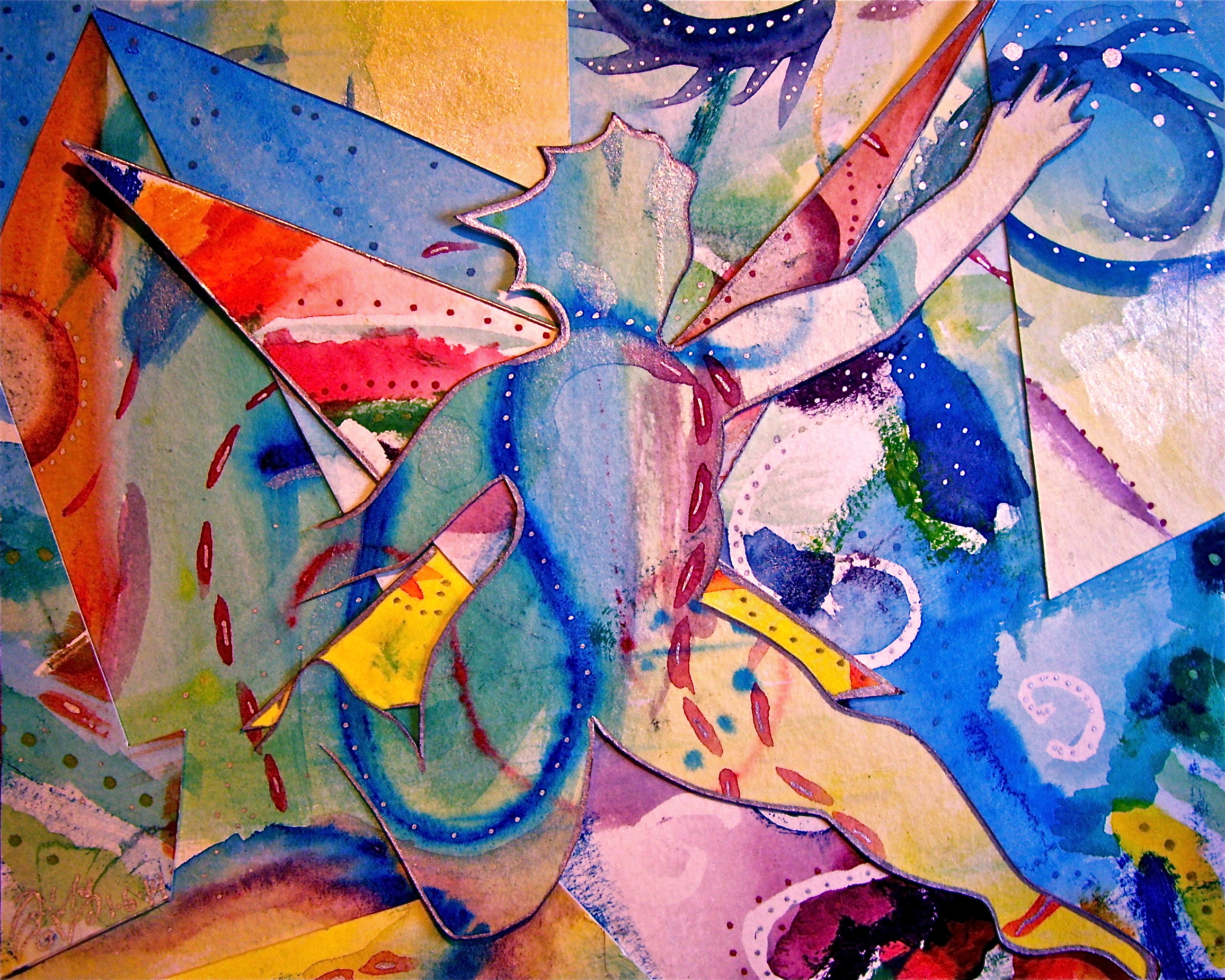 """Watercolor collage. 7 1/2"""" x 6"""". 1/7/2014.  Win it here.   Purchase a print here."""