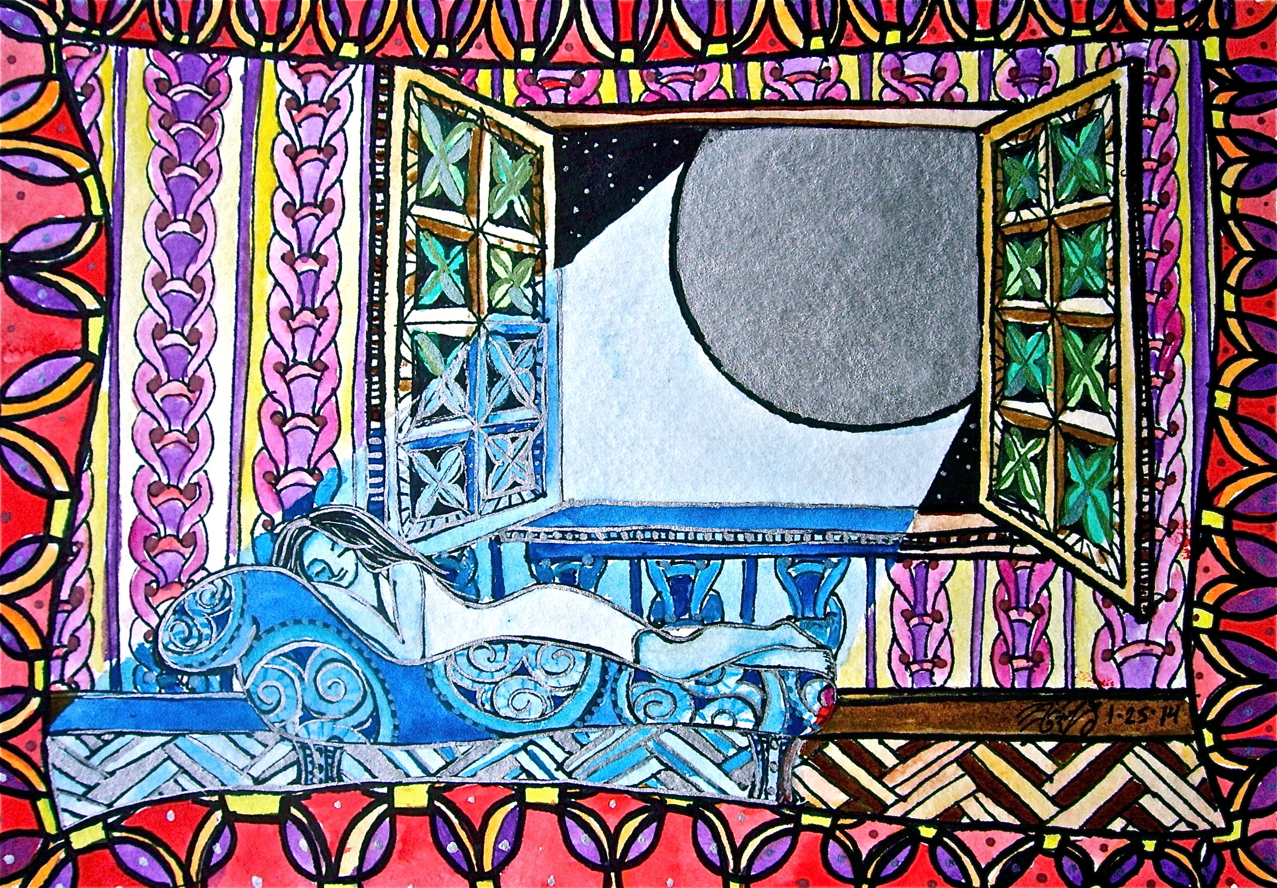 """Watercolor on paper. 8 1/2"""" x 6"""". 1/25/2014.  Win it here  and  PURCHASE A PRINT HERE."""