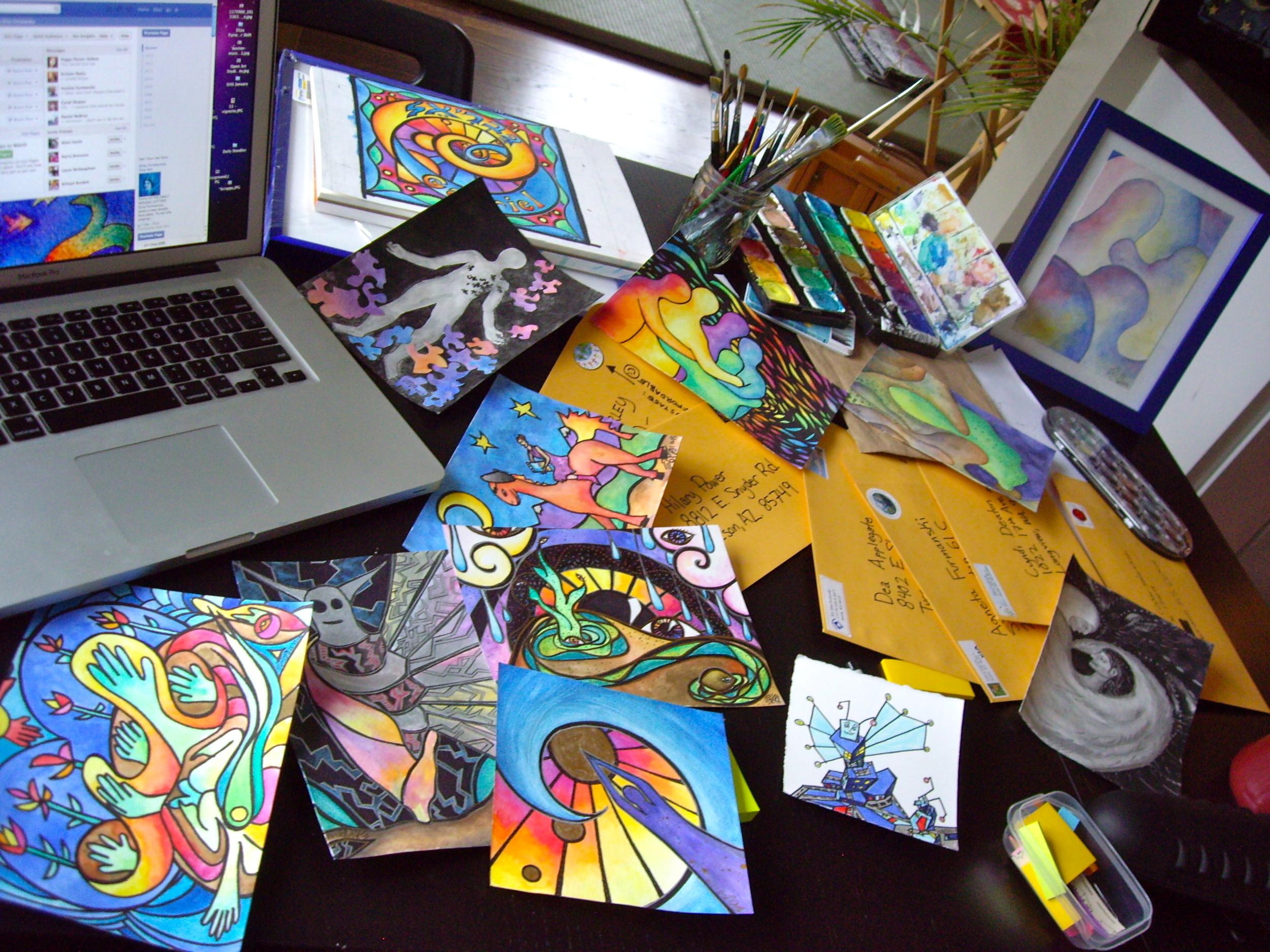 The Doodlers desk on a week I'd gotten a bit behind in sending off the doodles.