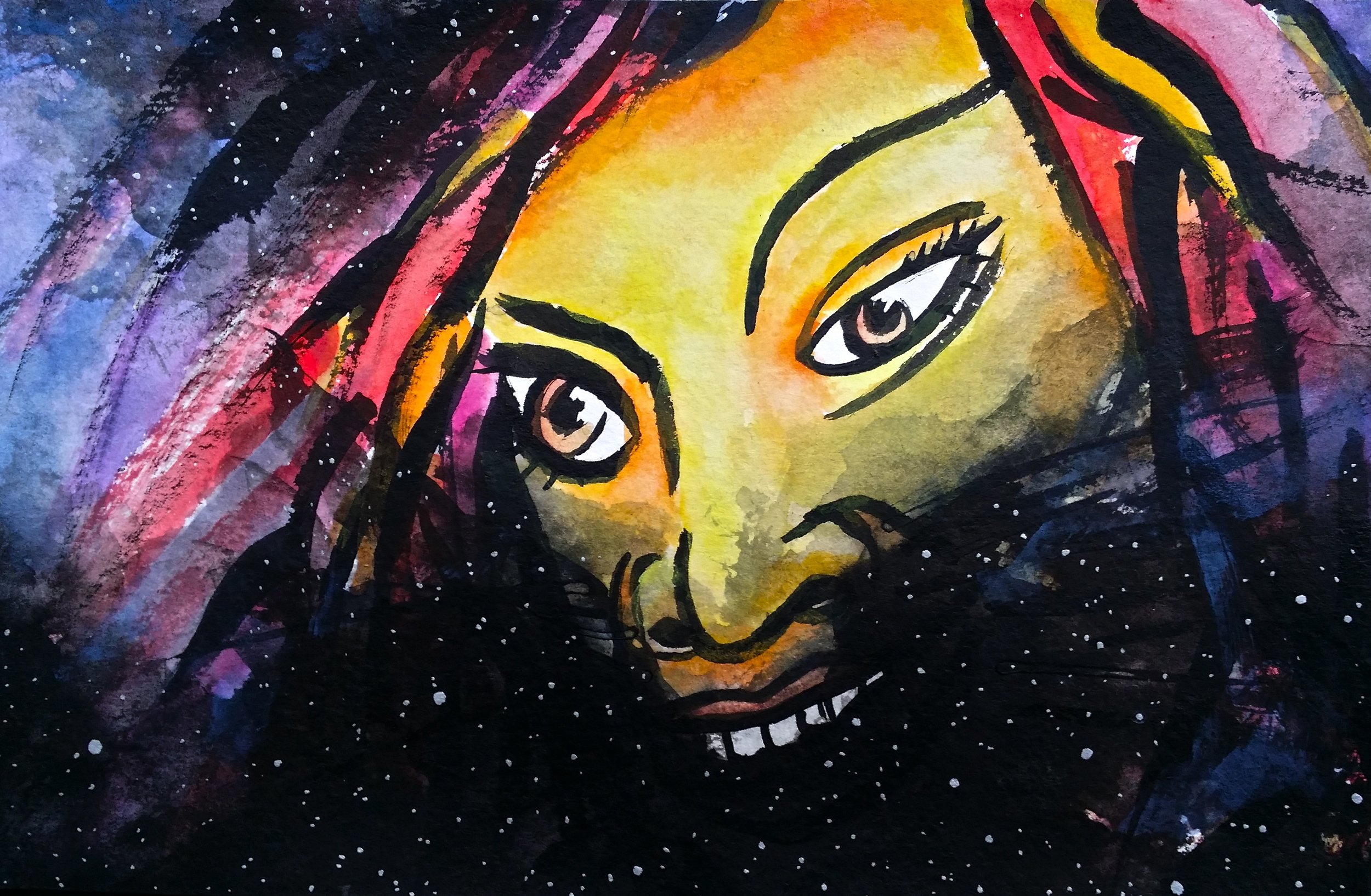"""India Ink and watercolor on paper. 8 1/2"""" x 5 1/2""""  Win it here  and  PURCHASE A PRINT HERE."""